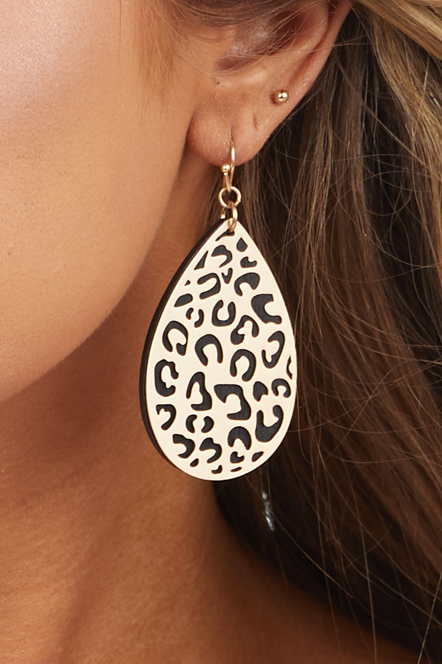 Black Teardrop Earrings with Gold Leopard Print Filigree