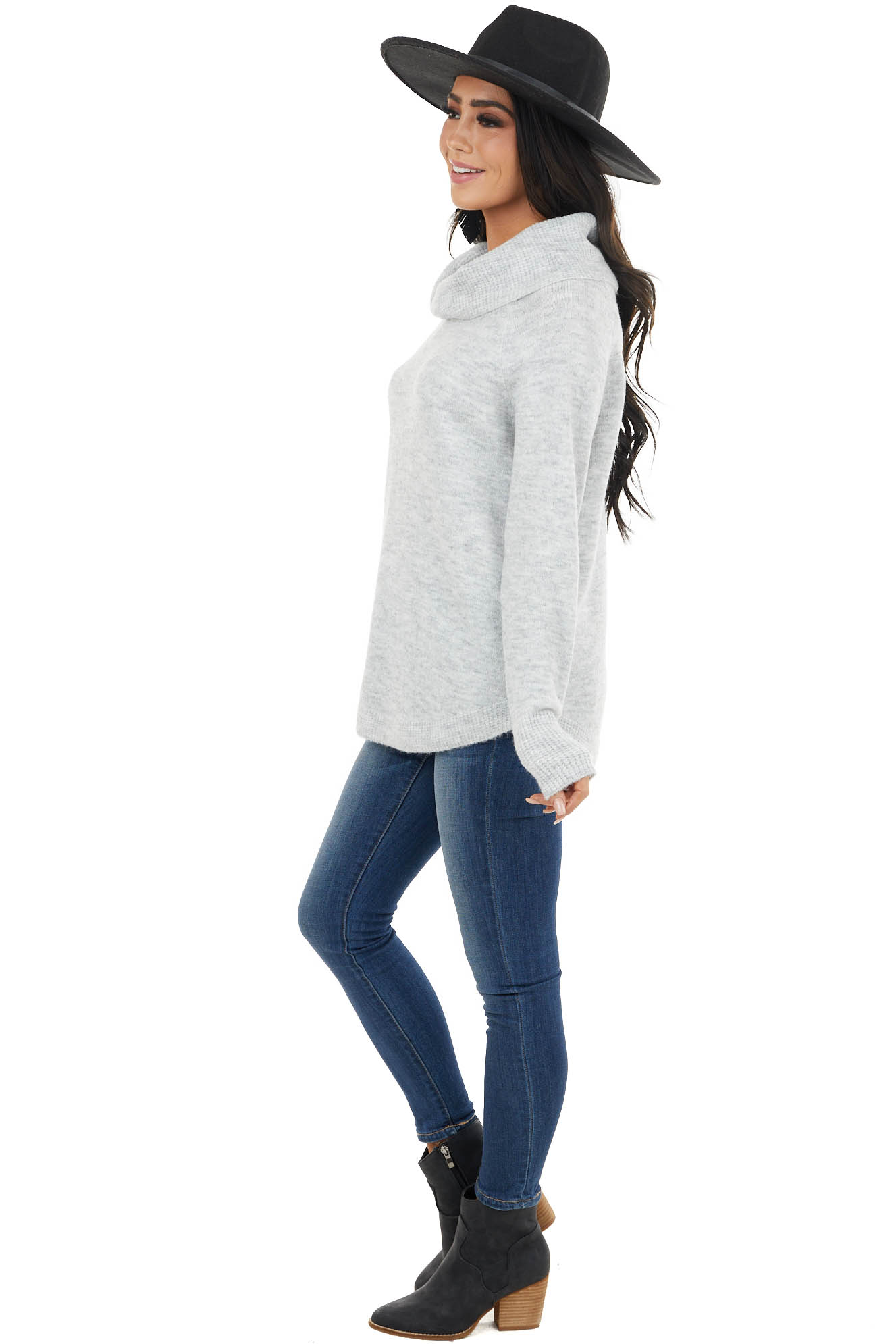 Dove Grey Lightweight Sweater with Fold Over Cowl Neck