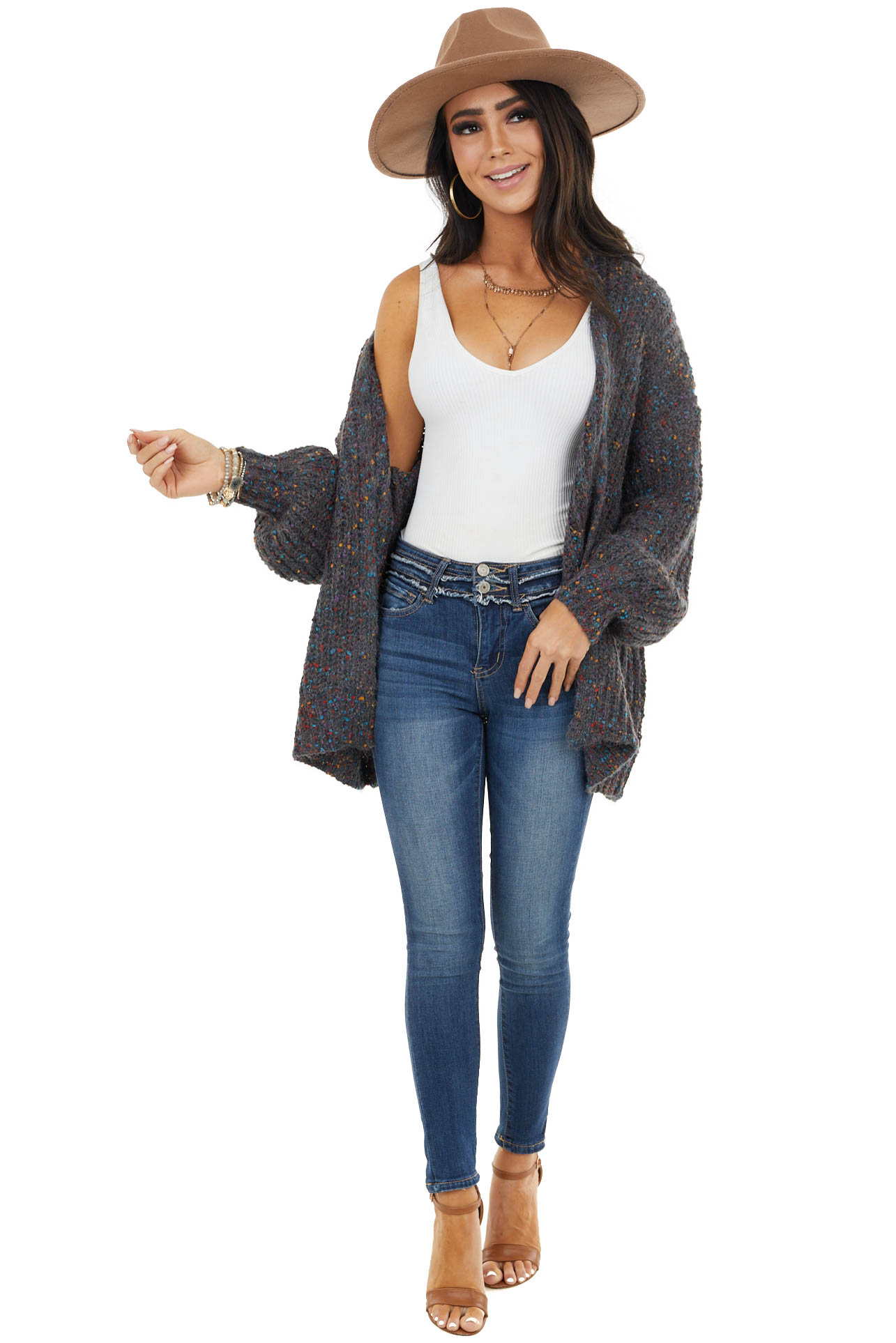 Charcoal Open Front Cardigan with Multicolor Dot Details