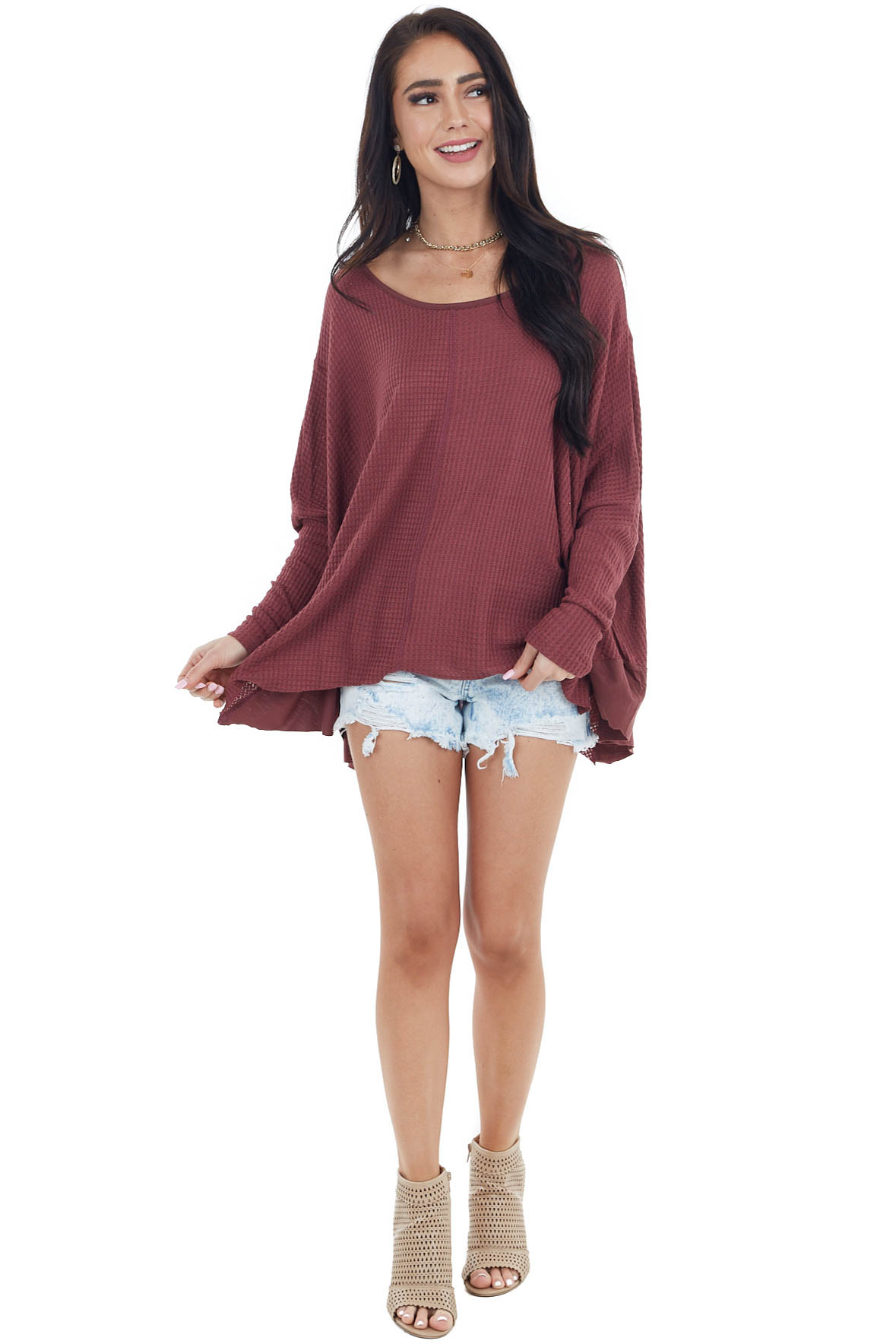 Wine Oversized Thermal Knit Long Sleeve Top