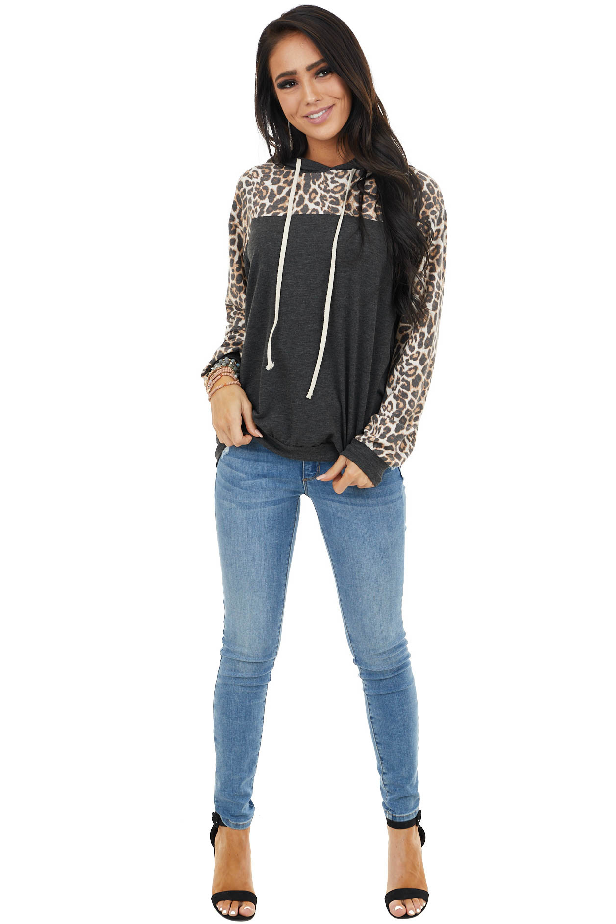 Charcoal and Cream Leopard Print Hoodie with Drawstrings