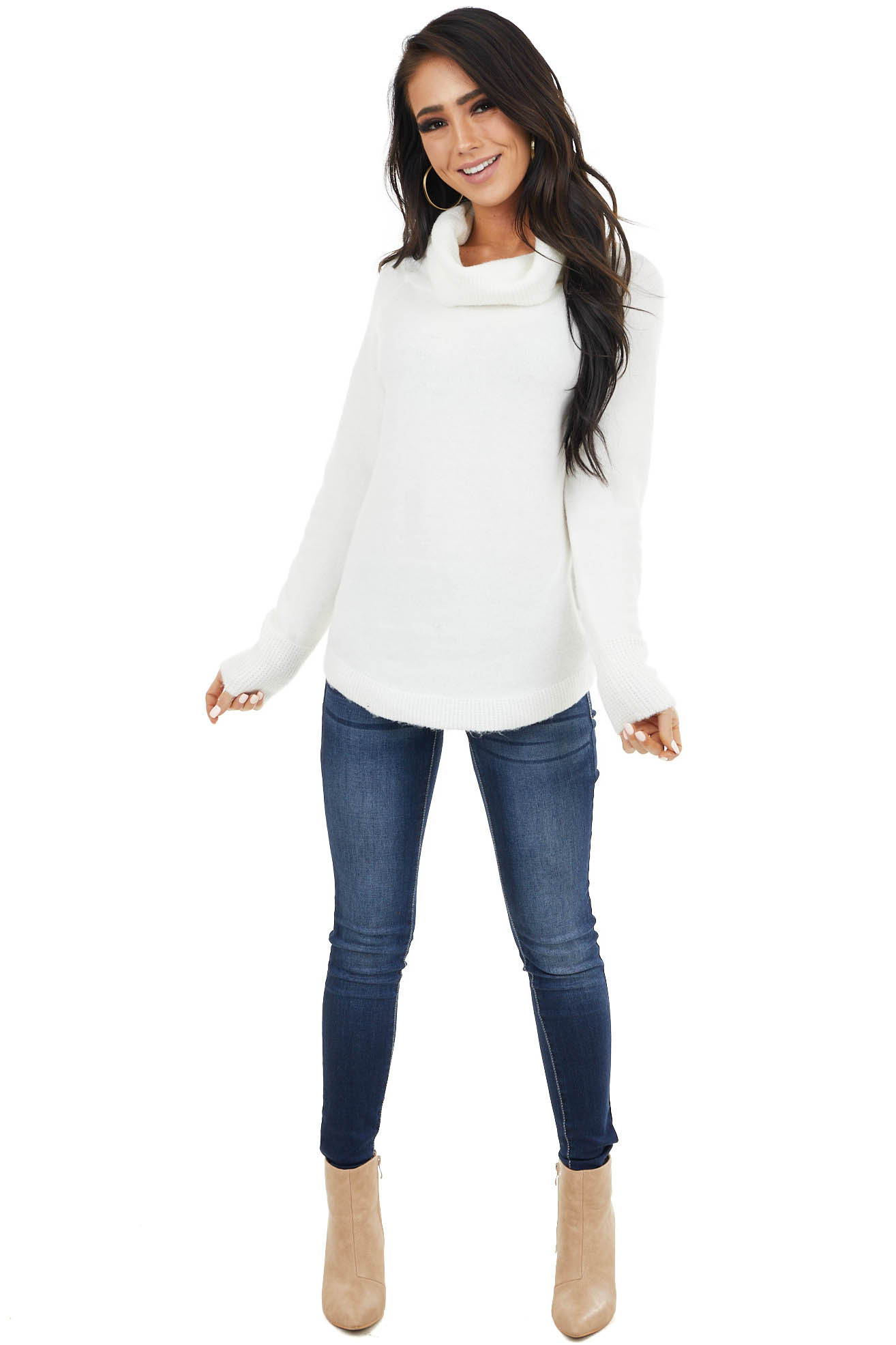 Ivory Lightweight Sweater with Fold Over Cowl Neck