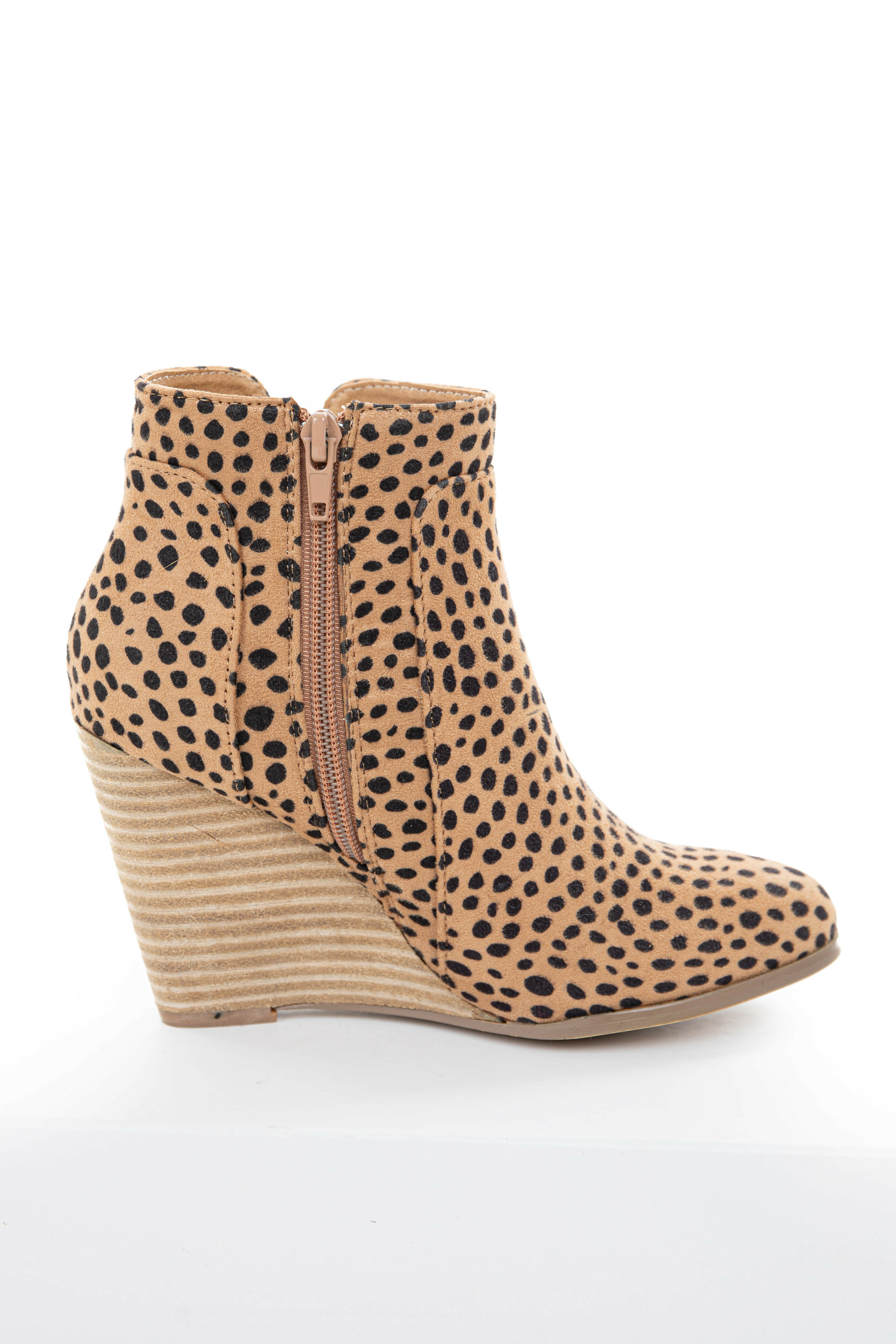Camel and Black Cheetah Print Faux Suede Wedge Bootie