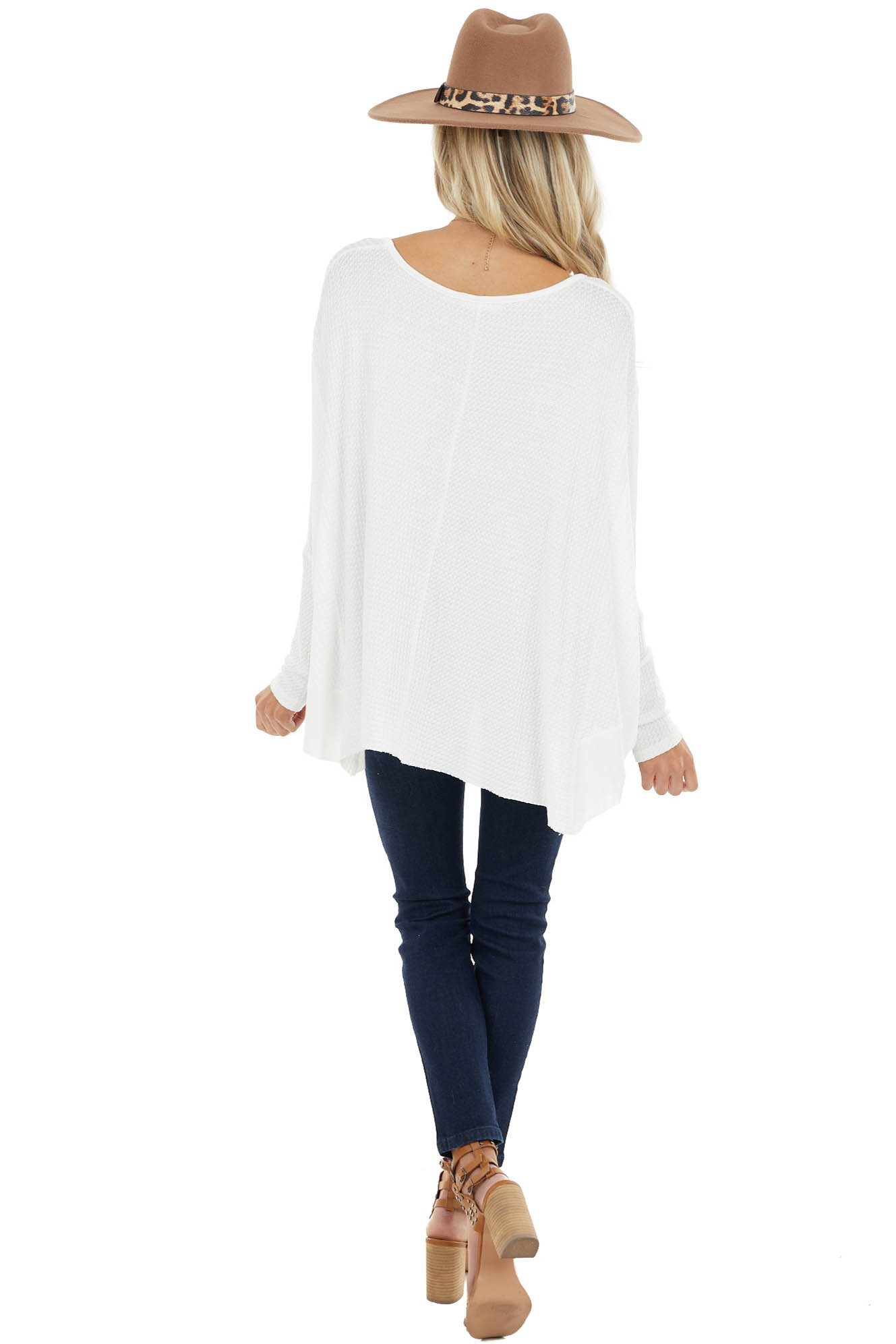 Off White Oversized Thermal Knit Long Sleeve Top