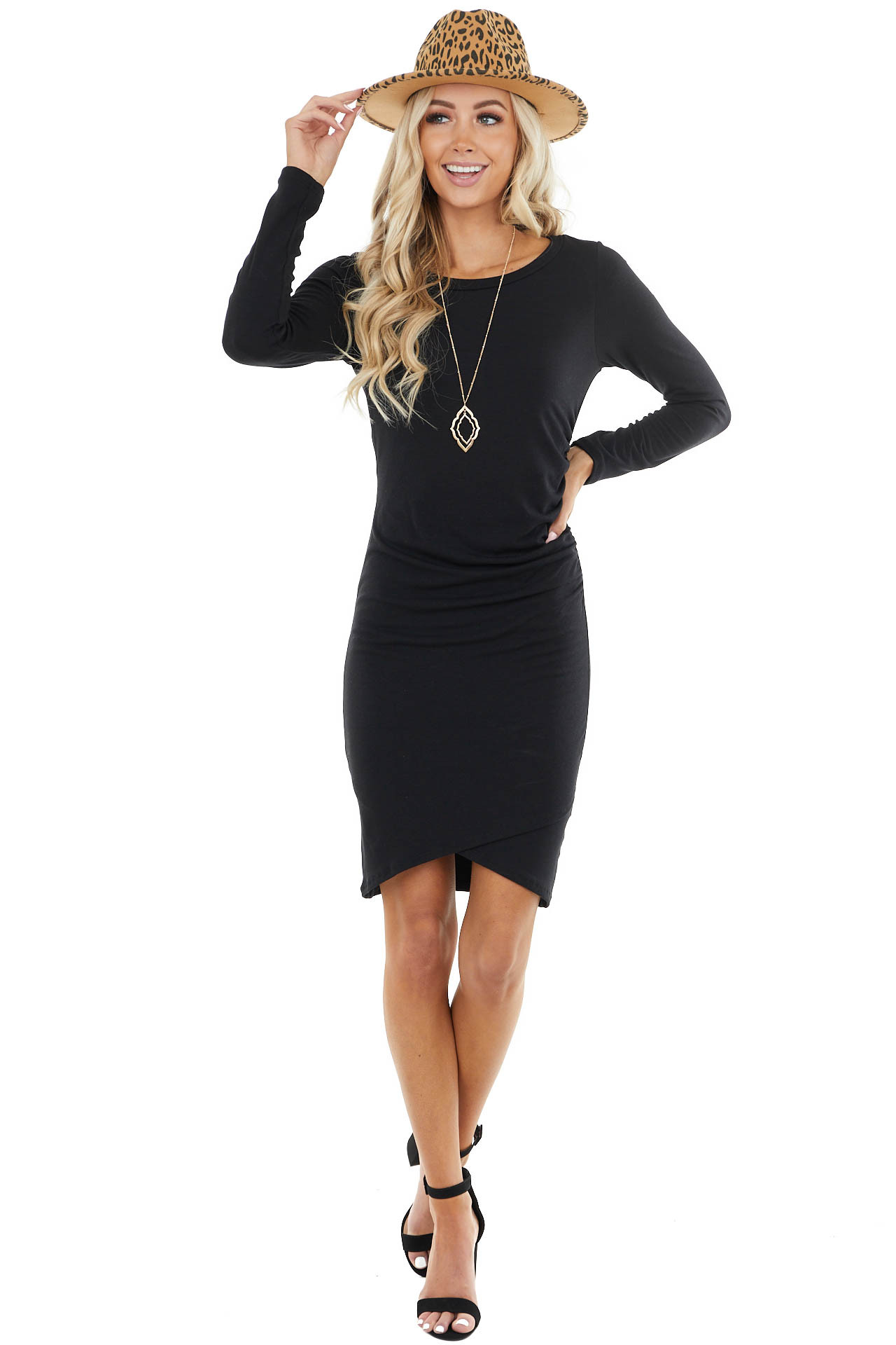 Black Long Sleeve Mini Dress with Side Ruching