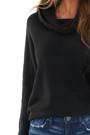 Black Lightweight Sweater with Fold Over Cowl Neck