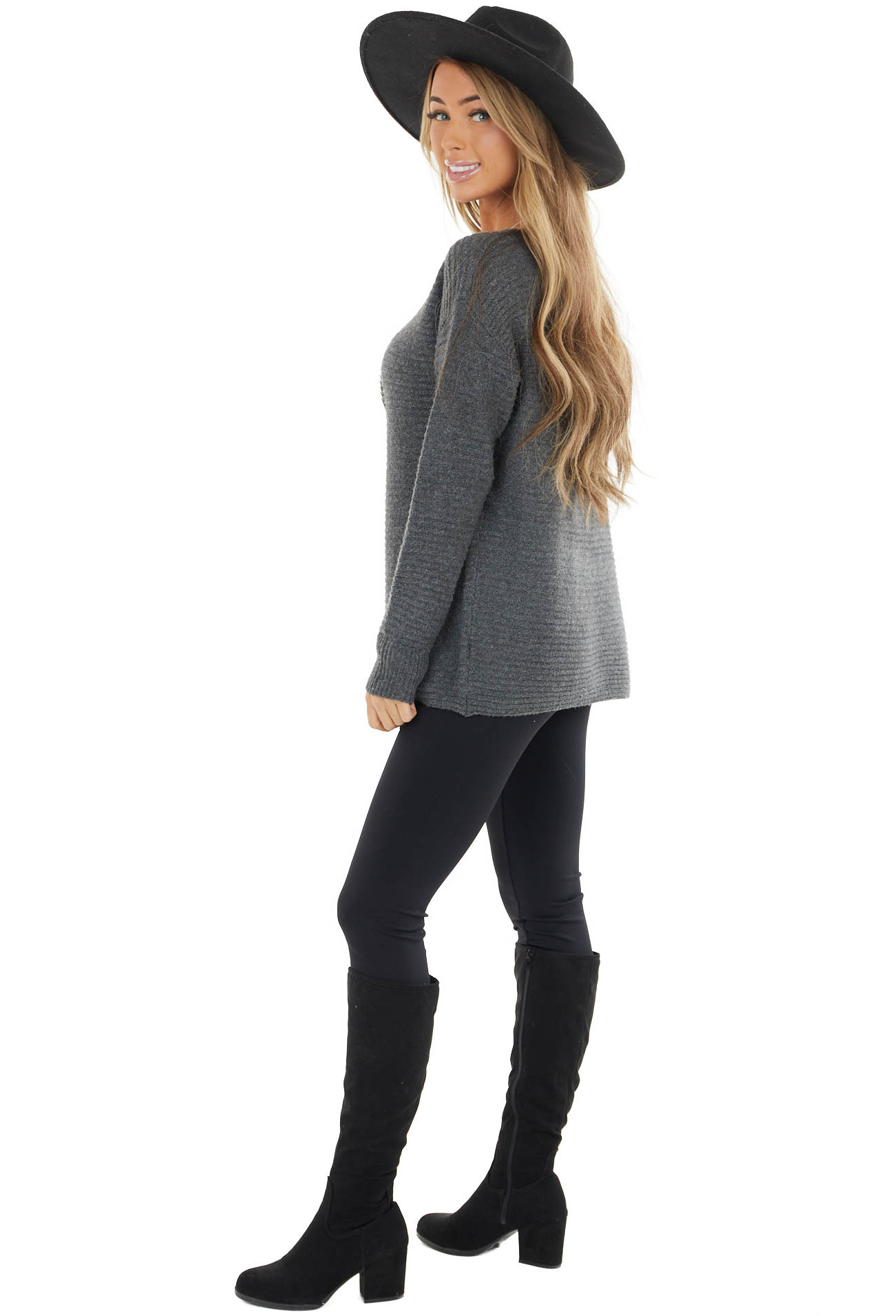 Charcoal Grey Soft Lightweight Knit Long Sleeved Sweater
