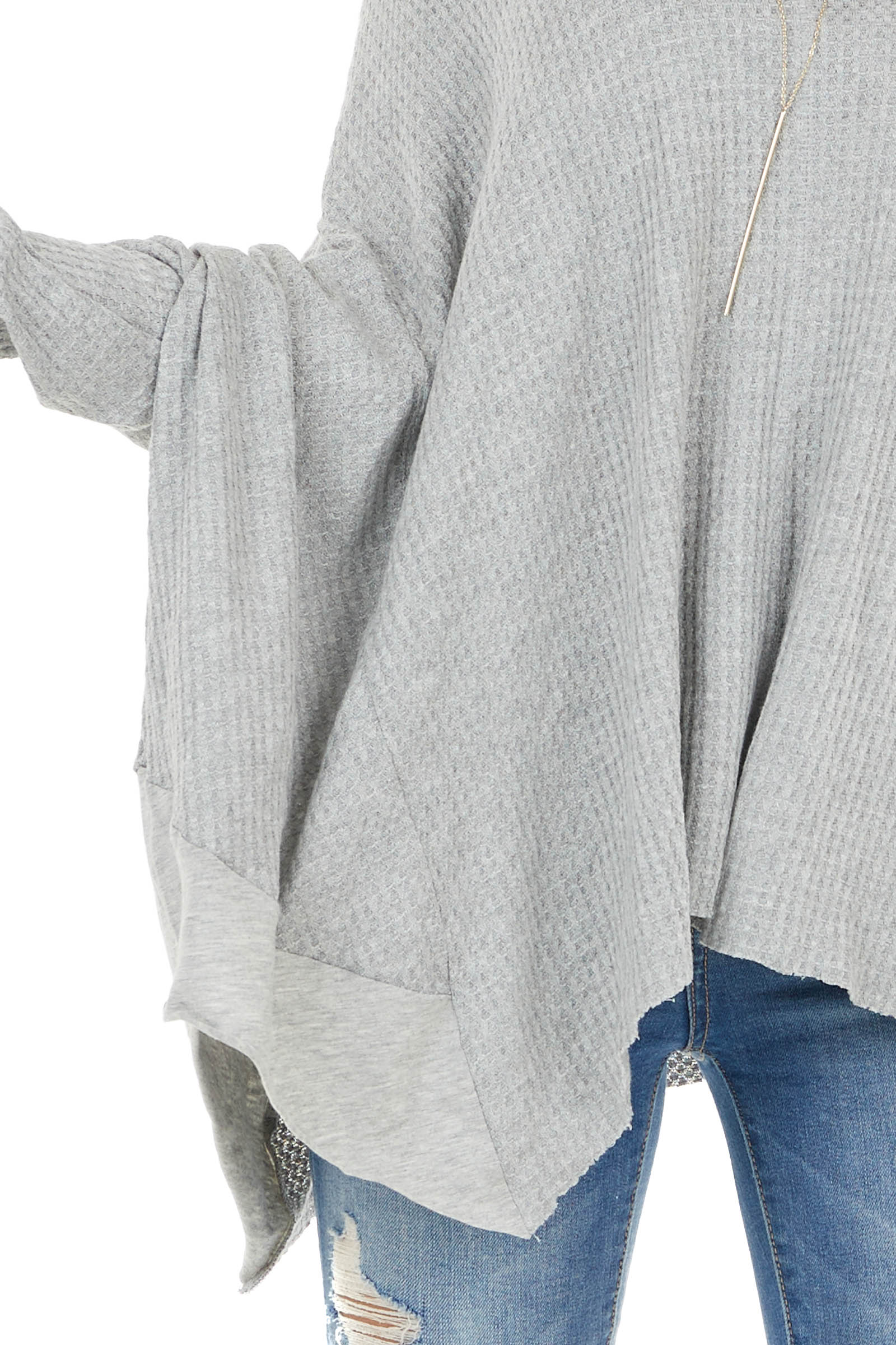 Heather Grey Oversized Thermal Knit Long Sleeve Top