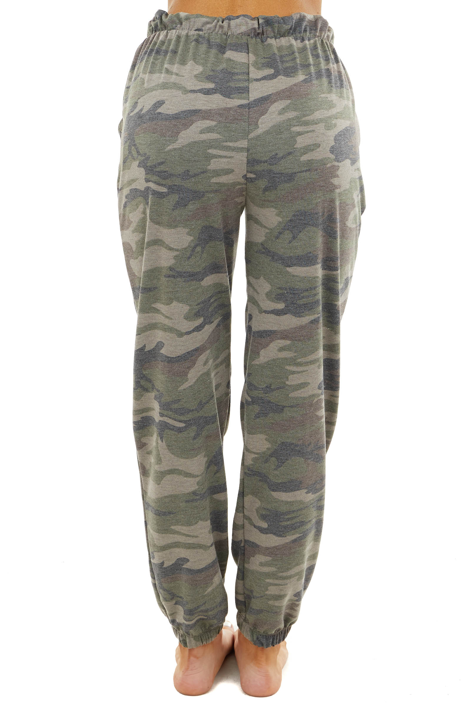 Dusty Olive Camo Print Joggers with Elastic Waist
