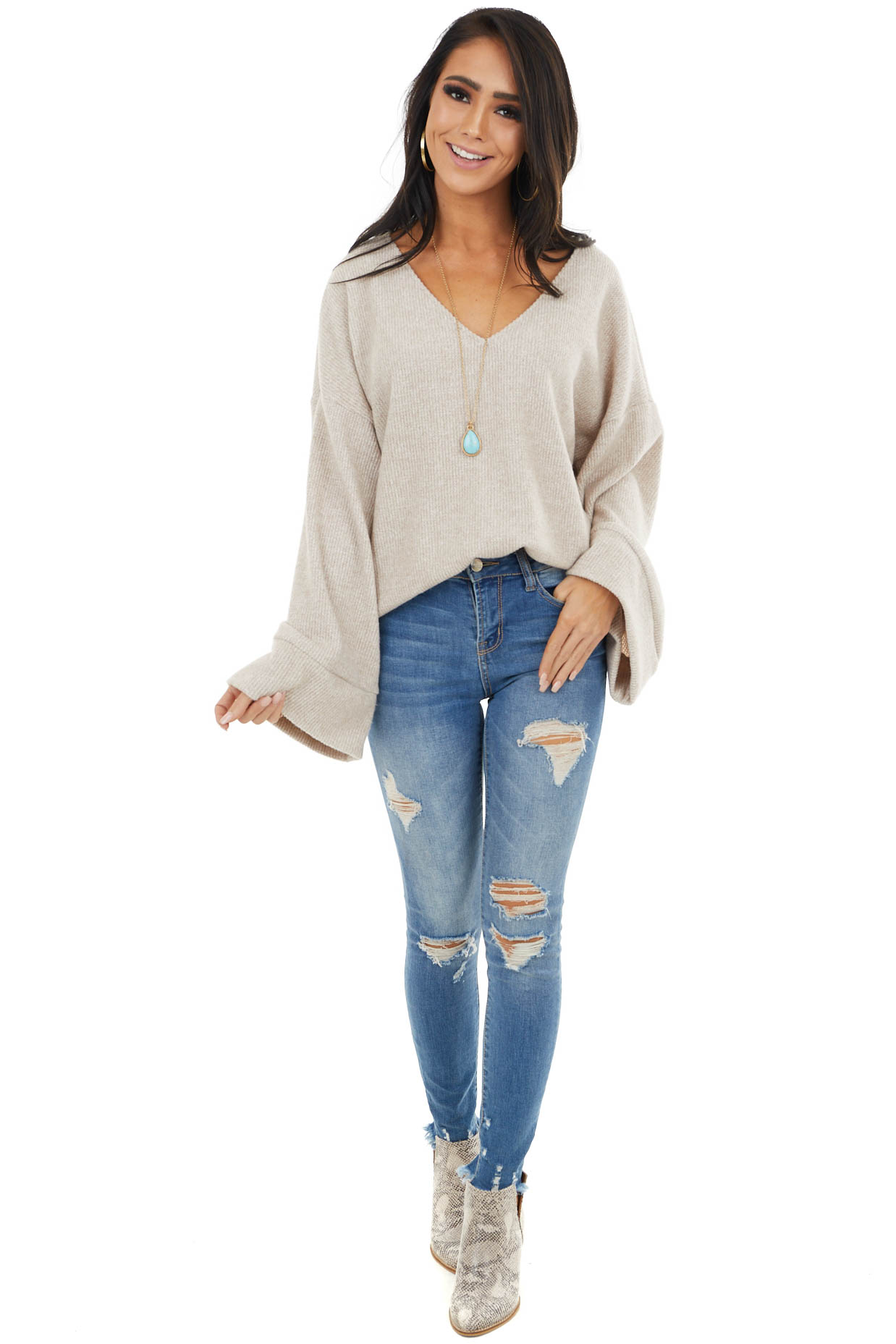 Desert Sand Oversized Top with Back Cutout Detail