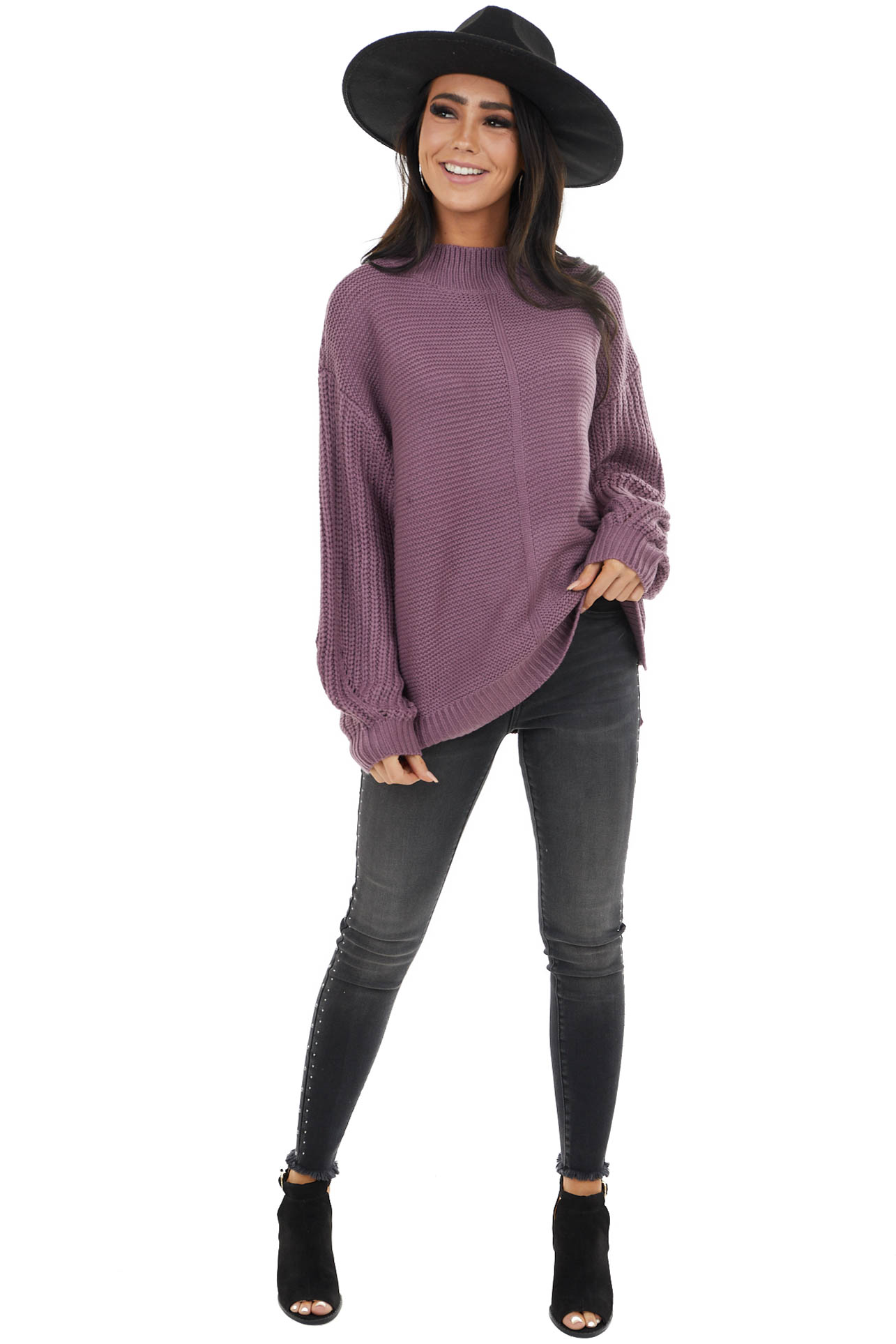 Iris Purple Mock Neck Sweater with Thick Knit Puff Sleeves