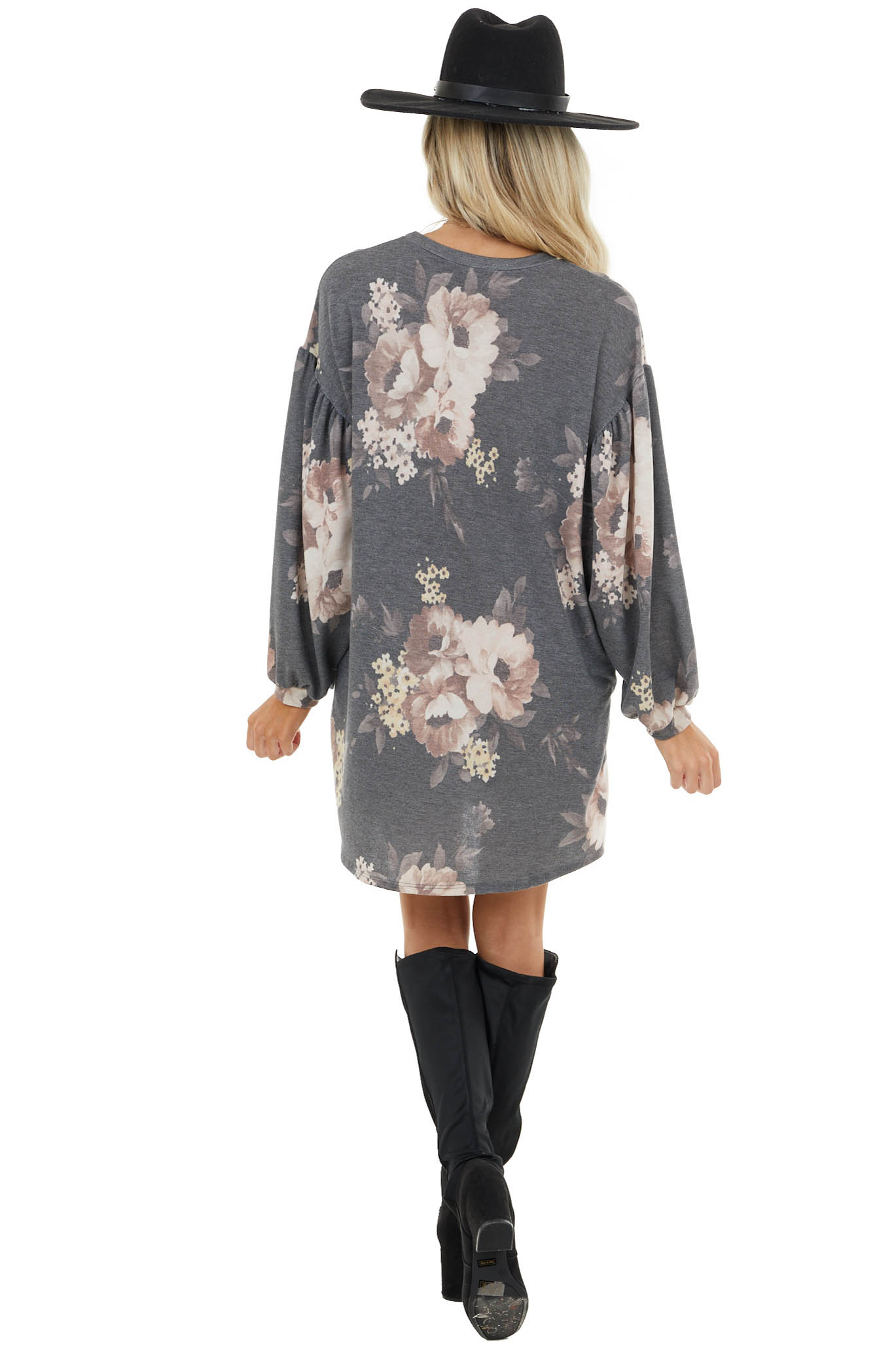 Stone and Mauve Floral Print Dress with Bubble Long Sleeves