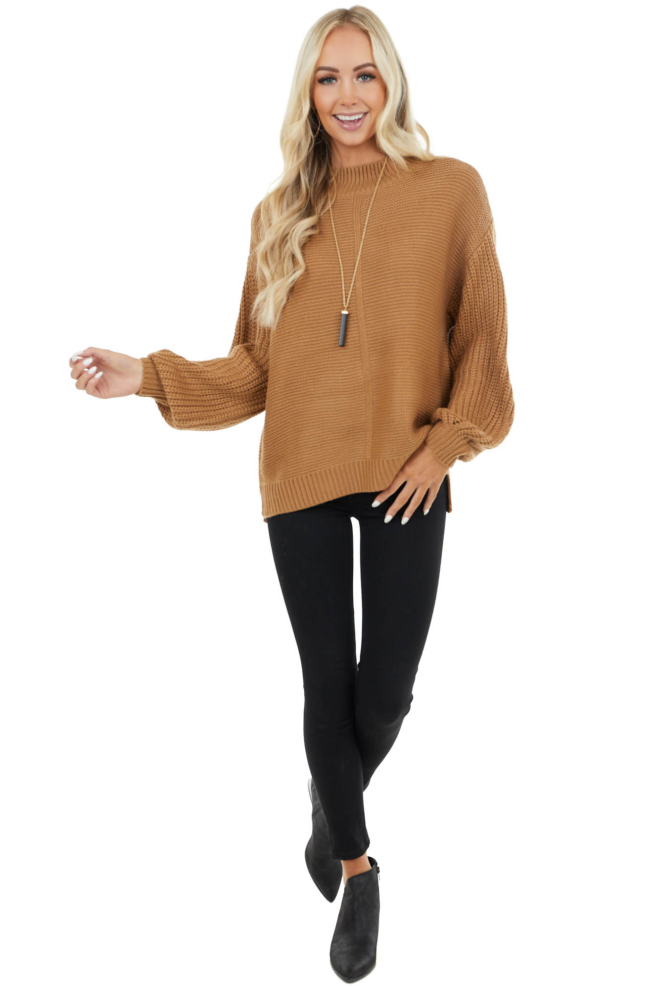 Camel Mock Neck Sweater with Thick Knit Puff Sleeves