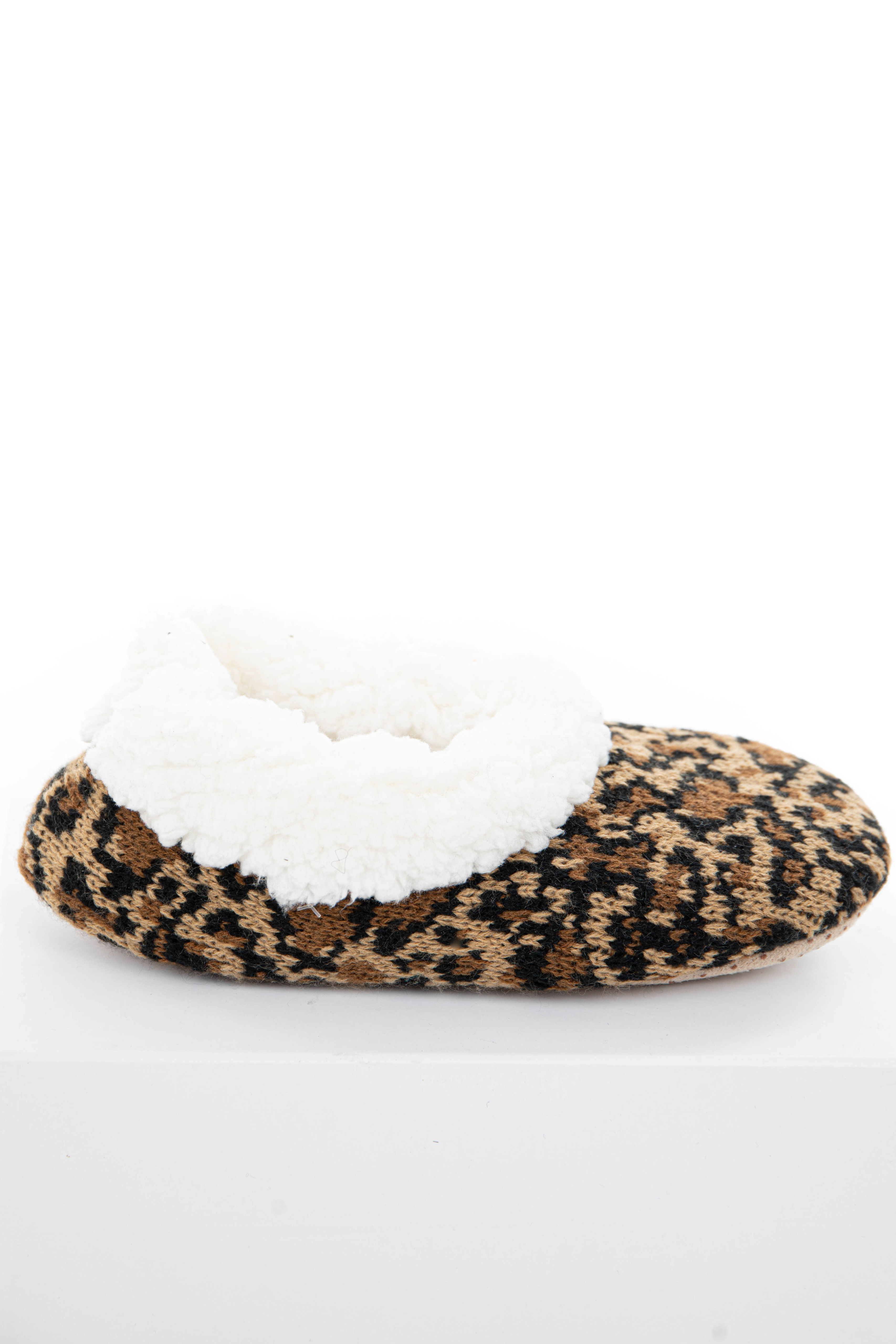 Beige Leopard Print Slippers with Faux Fur Lining