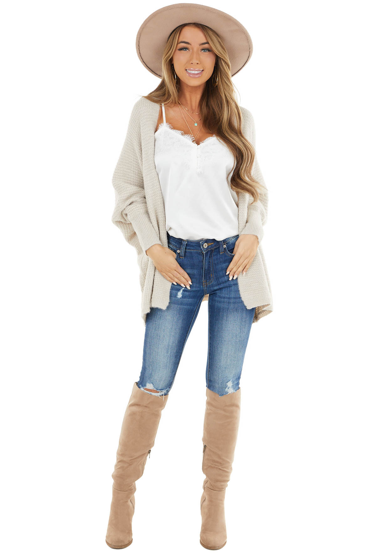 Oatmeal Open Front Knit Cardigan with Long Dolman Sleeves