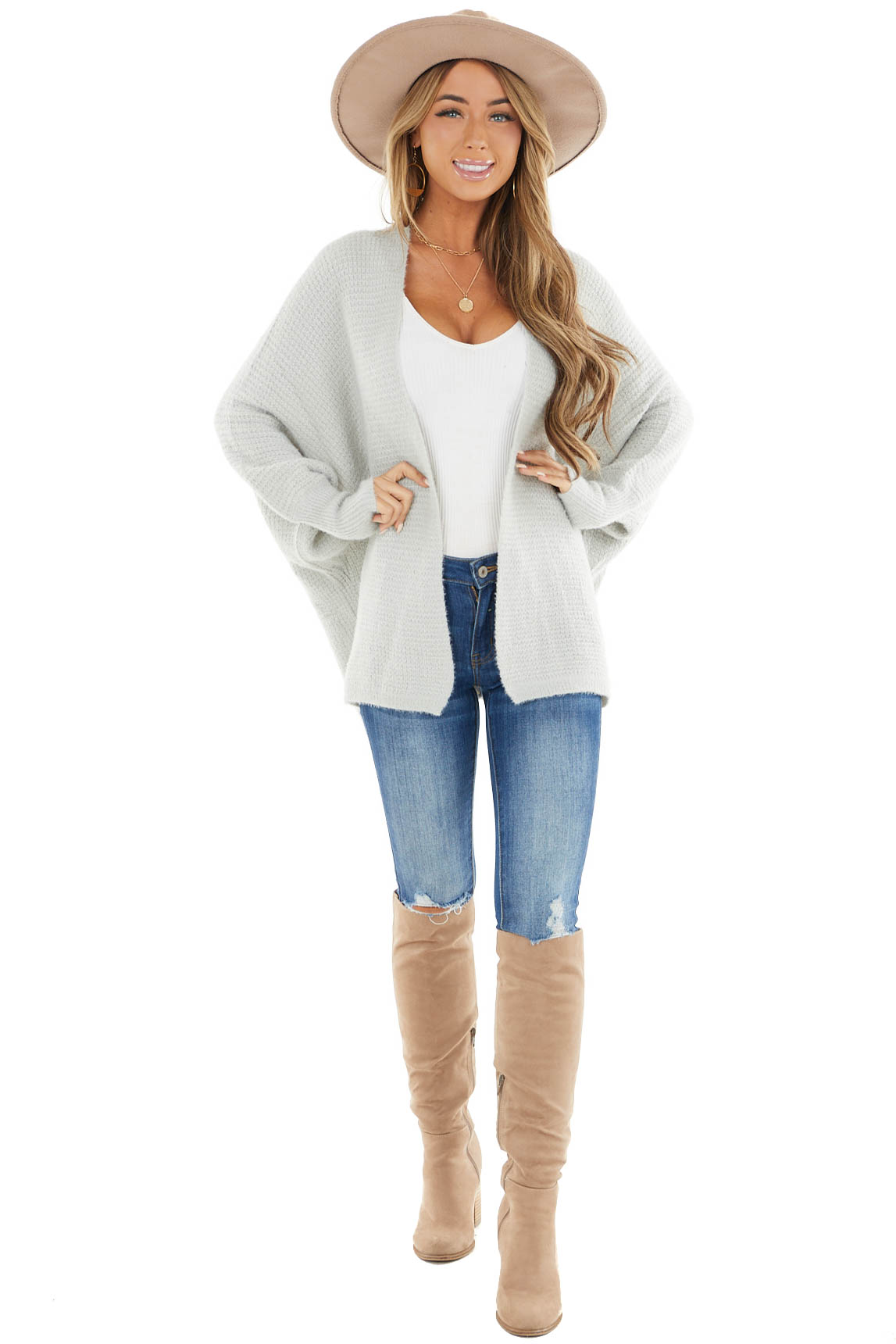 Dove Grey Open Front Knit Cardigan with Long Dolman Sleeves