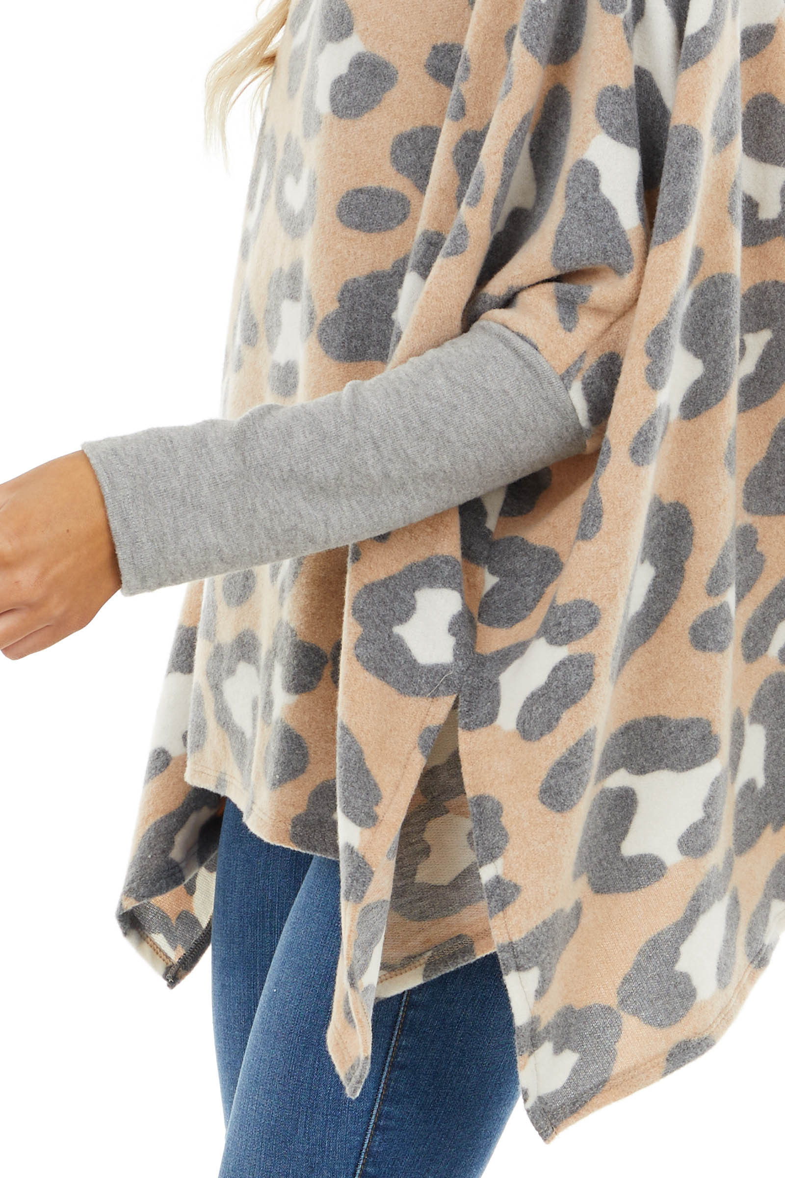Dove and Beige Leopard Print Soft Knit Poncho Sweater