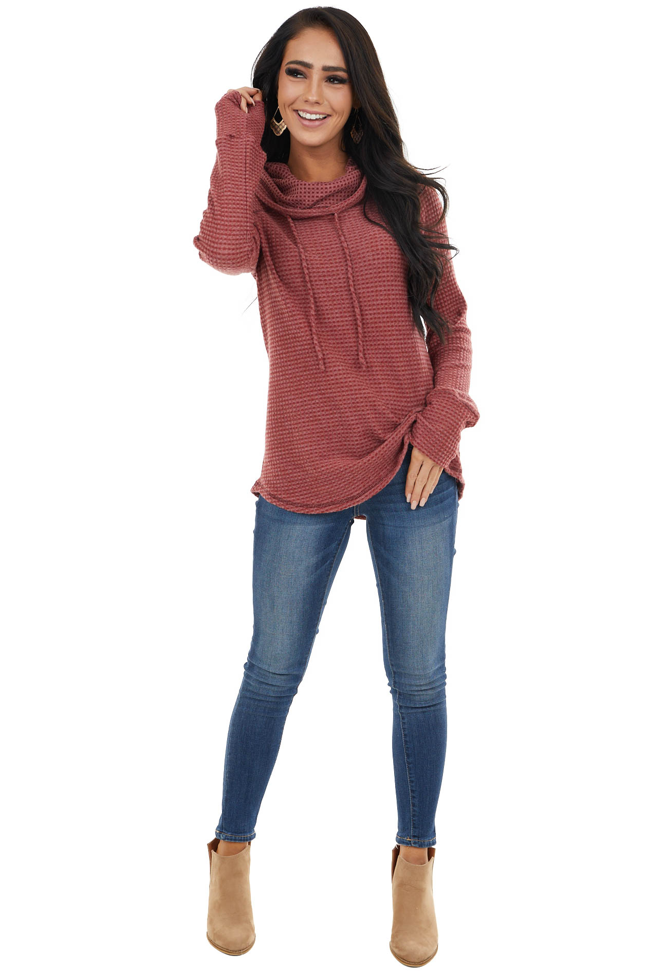 Burgundy Waffle Knit Long Sleeve Raglan Top with Cowl Neck