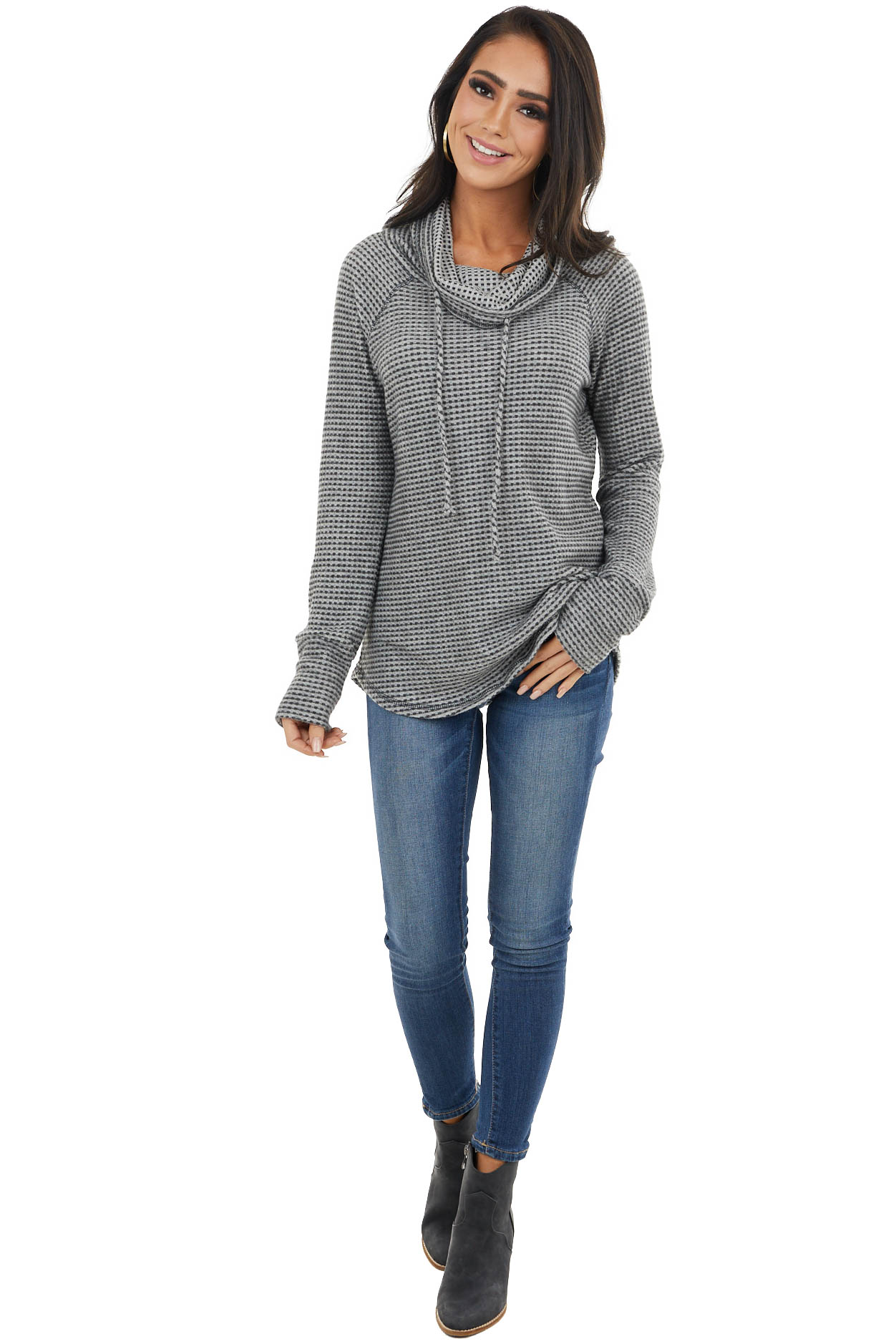 Charcoal Waffle Knit Long Sleeve Raglan Top with Cowl Neck