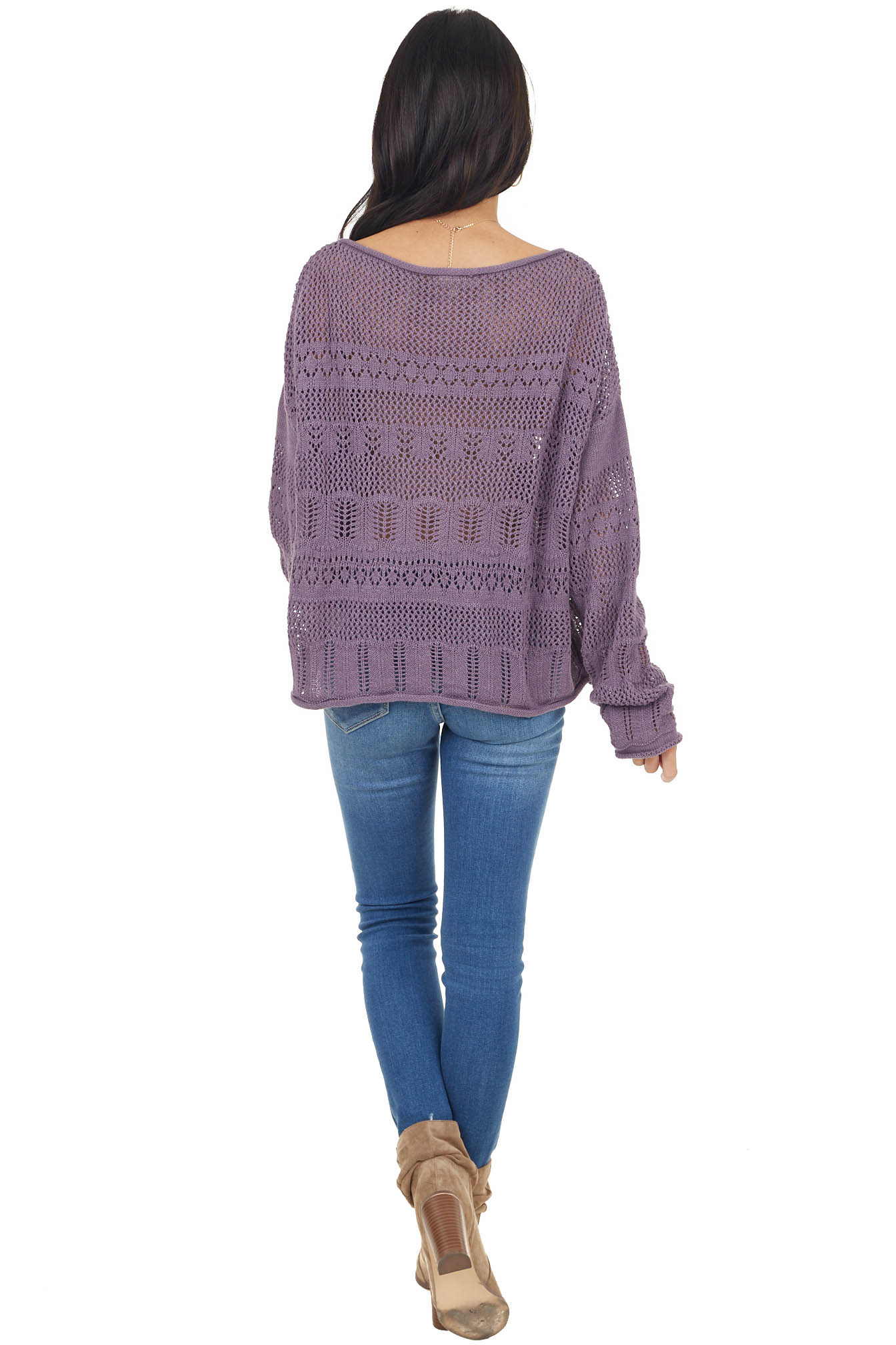 Lavender Crochet Knit Lightweight Sweater with Long Sleeves