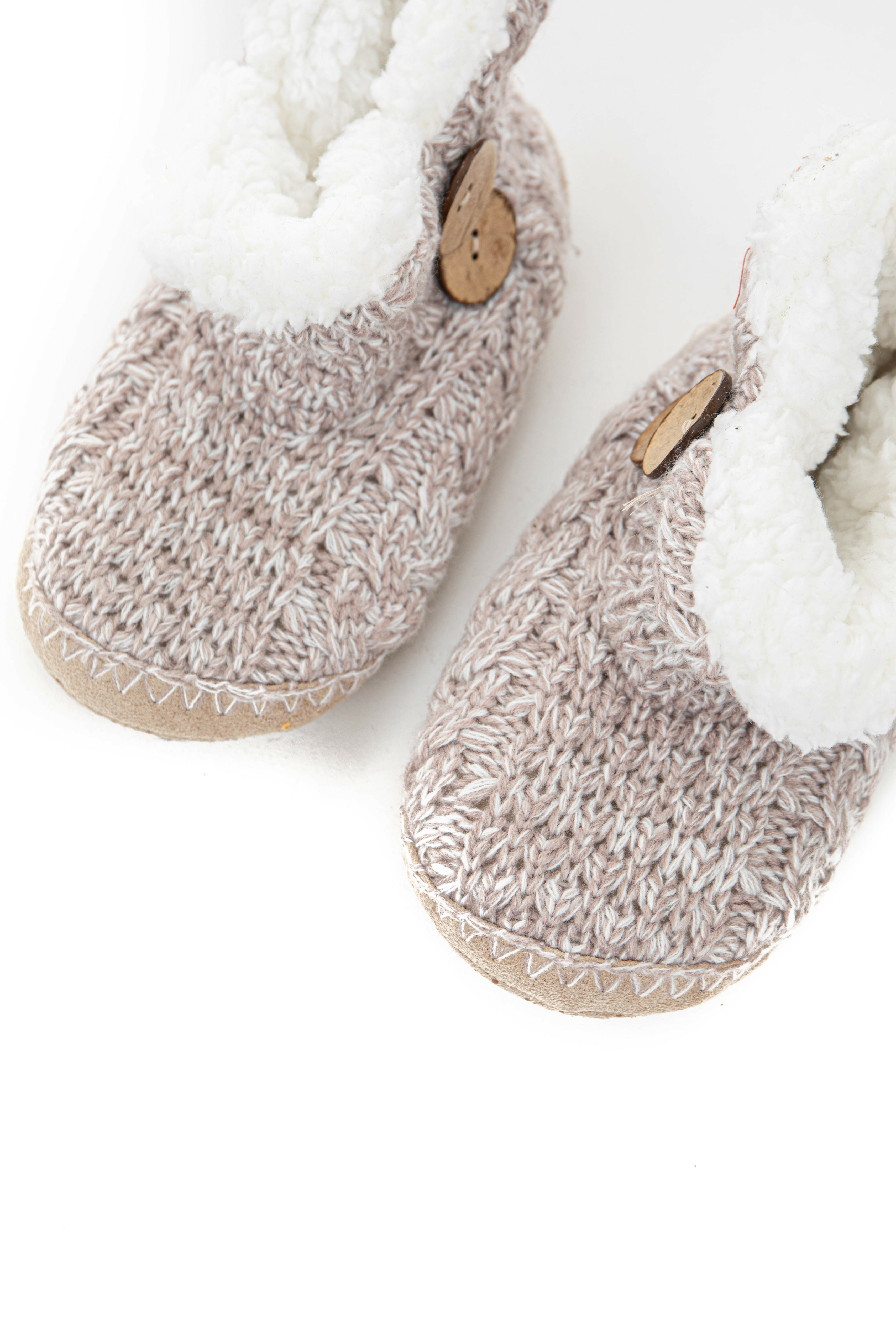 Latte and Ivory Knit Bootie Slippers with Button Details