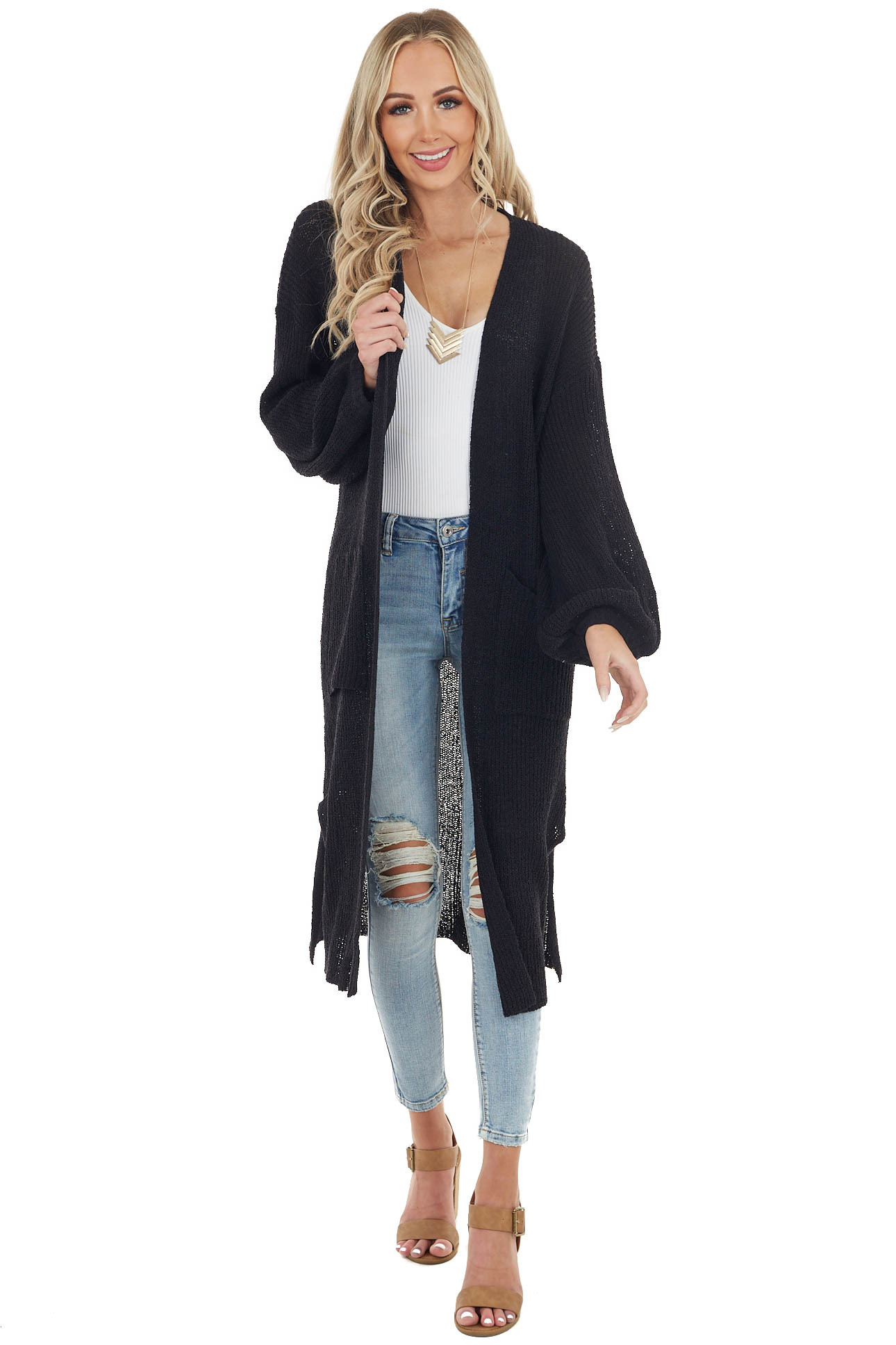 Black Knit Open Front Oversized Long Sleeve Duster Cardigan