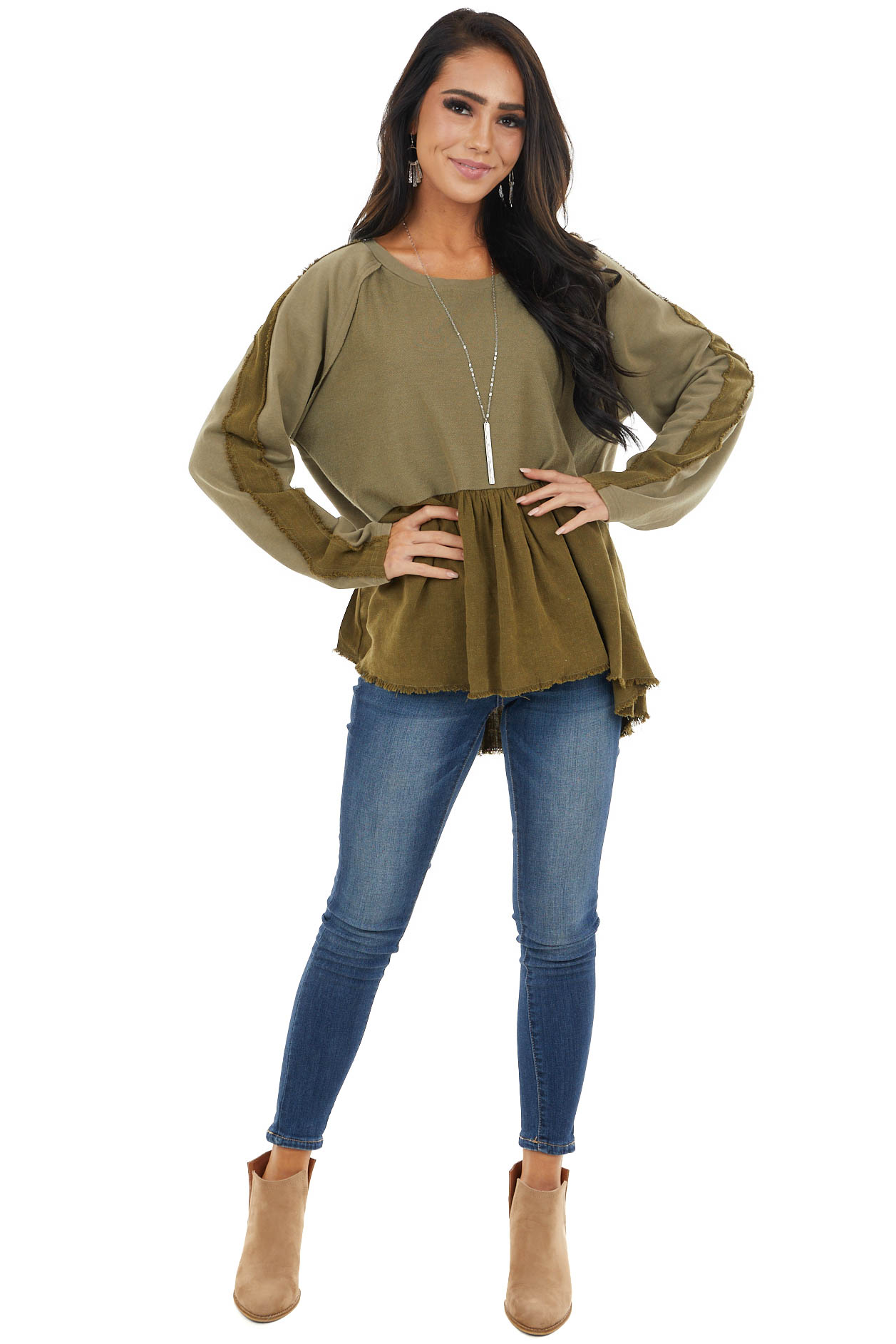 Olive Long Sleeve Babydoll Top with Raw and Frayed Detail