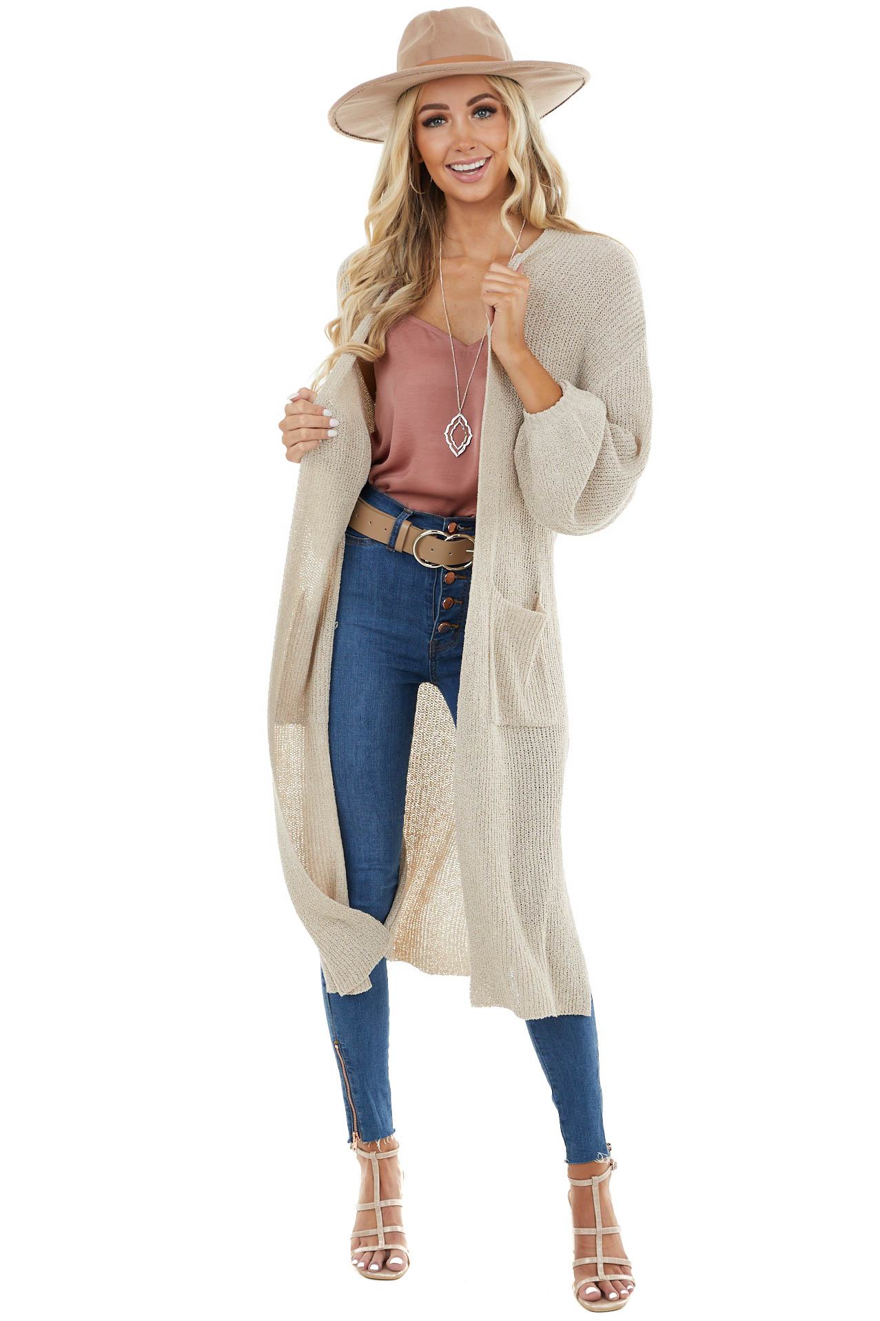 Latte Knit Open Front Oversized Long Sleeve Duster Cardigan