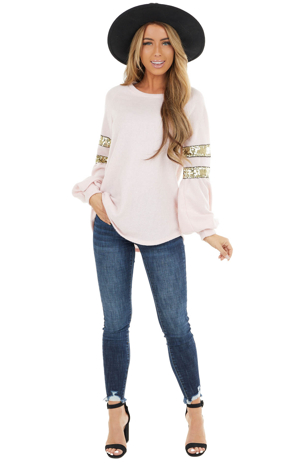 Baby Pink Long sleeve Top with Glitter and Sequin Details
