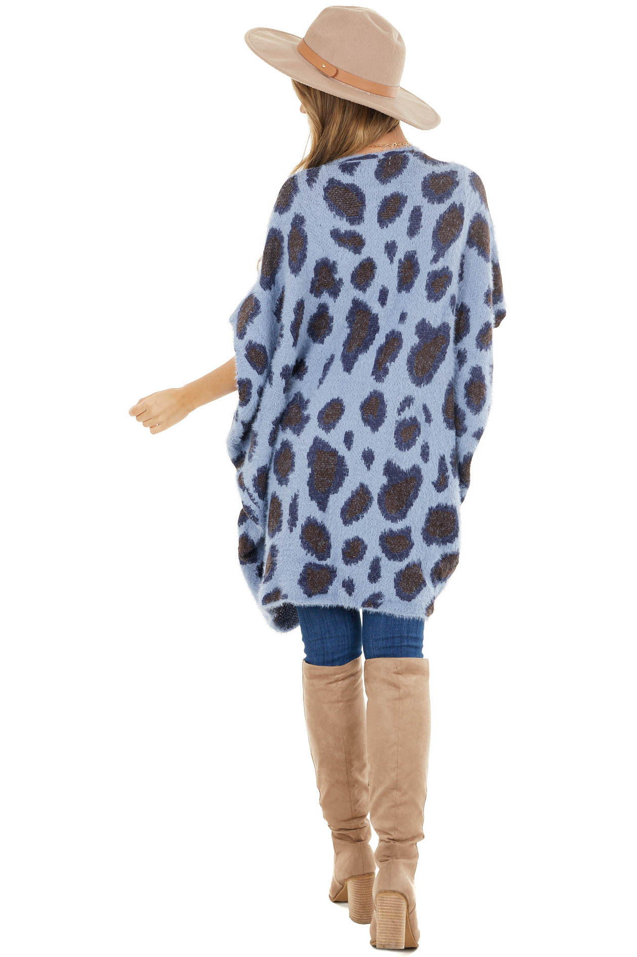 Dusty Blue and Navy Leopard Print 3/4 Sleeve Soft Cardigan