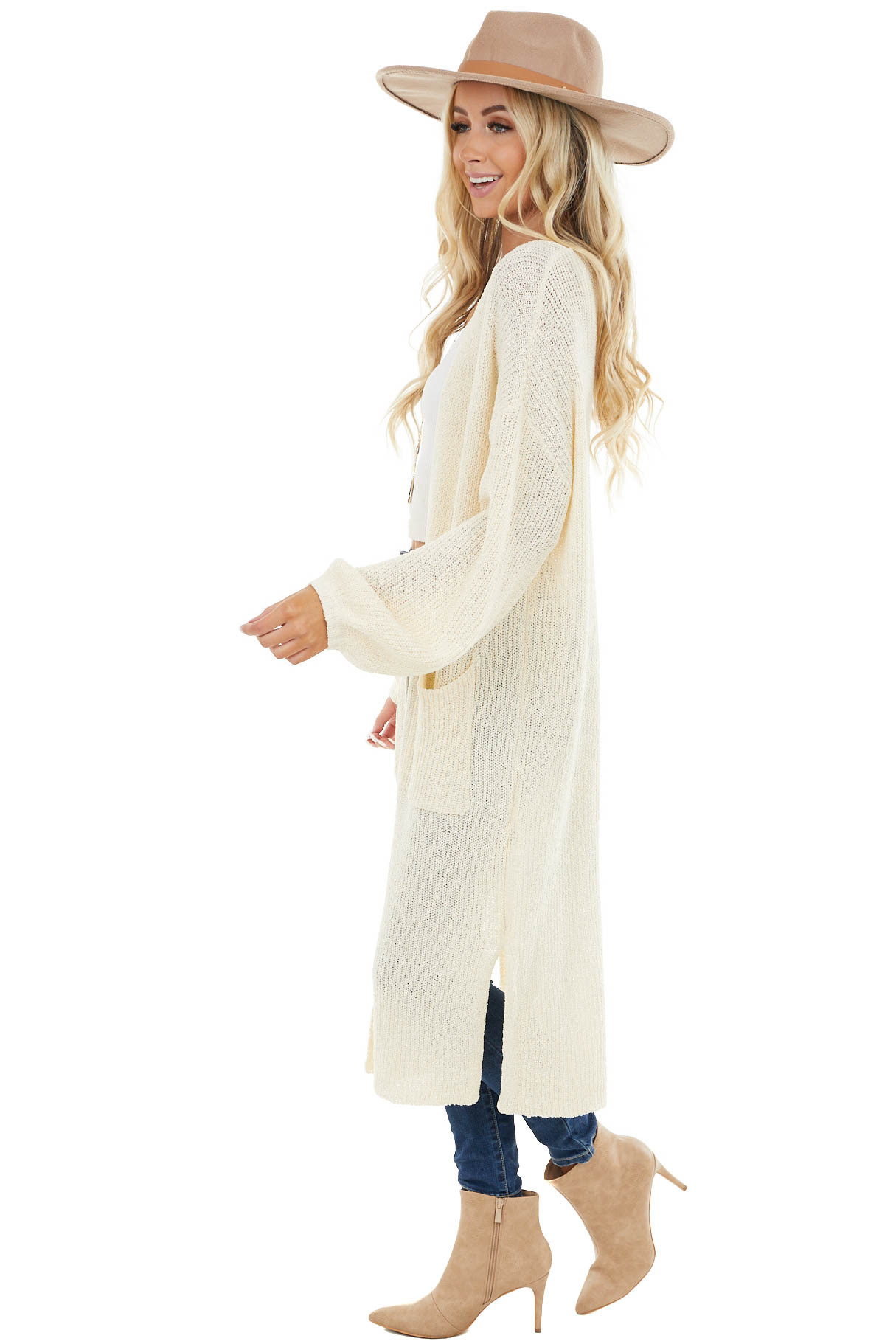 Cream Knit Open Front Oversized Long Sleeve Duster Cardigan