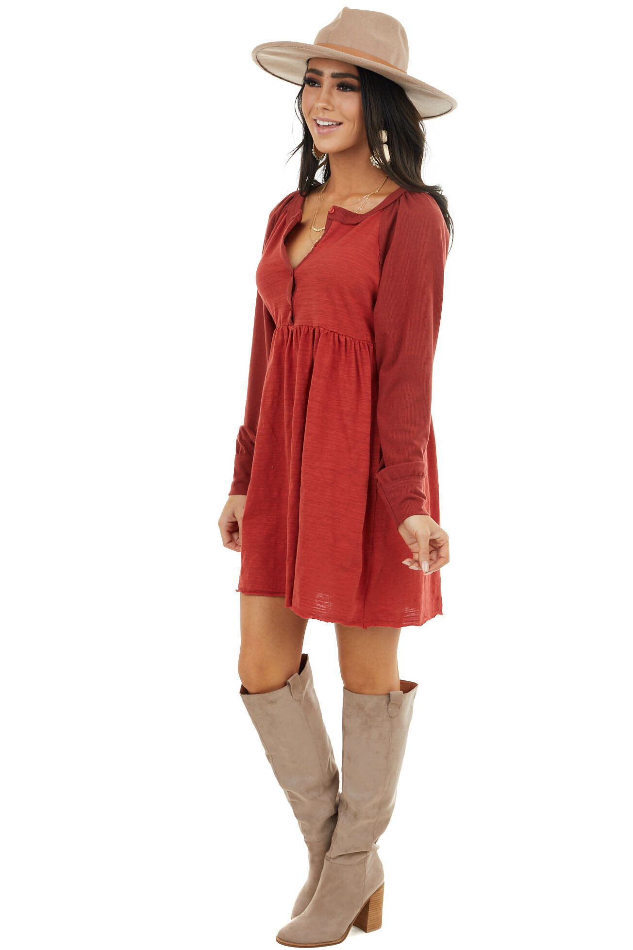 Candy Apple Red Henley Babydoll Dress with Raw Edge Detail