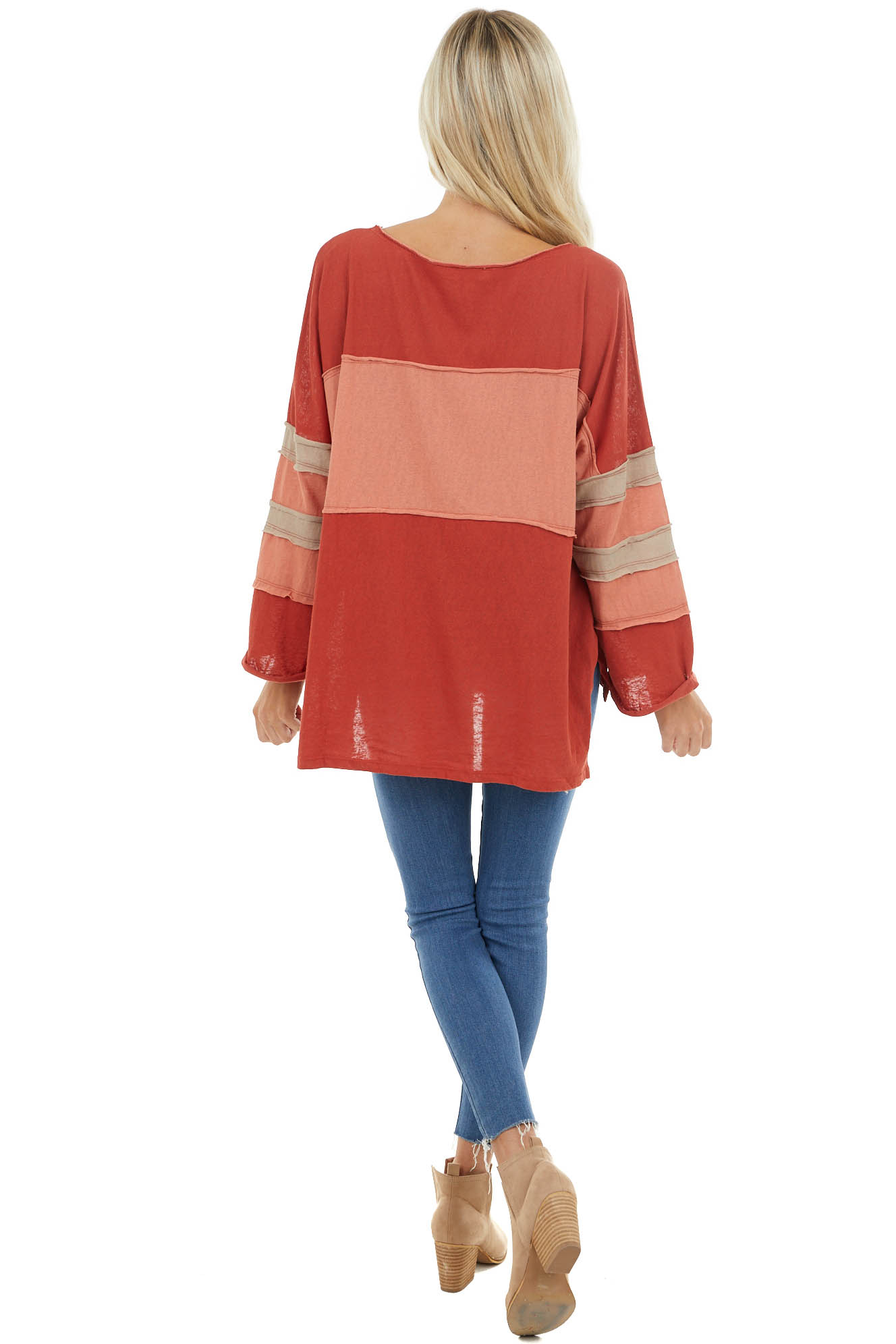 Rust and Apricot Top with Raw Hem detail and Side Slits
