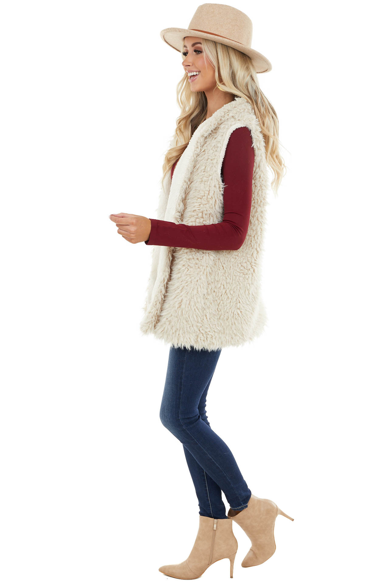 Beige Soft Faux Fur Vest with Hood Detail and Hook Closures