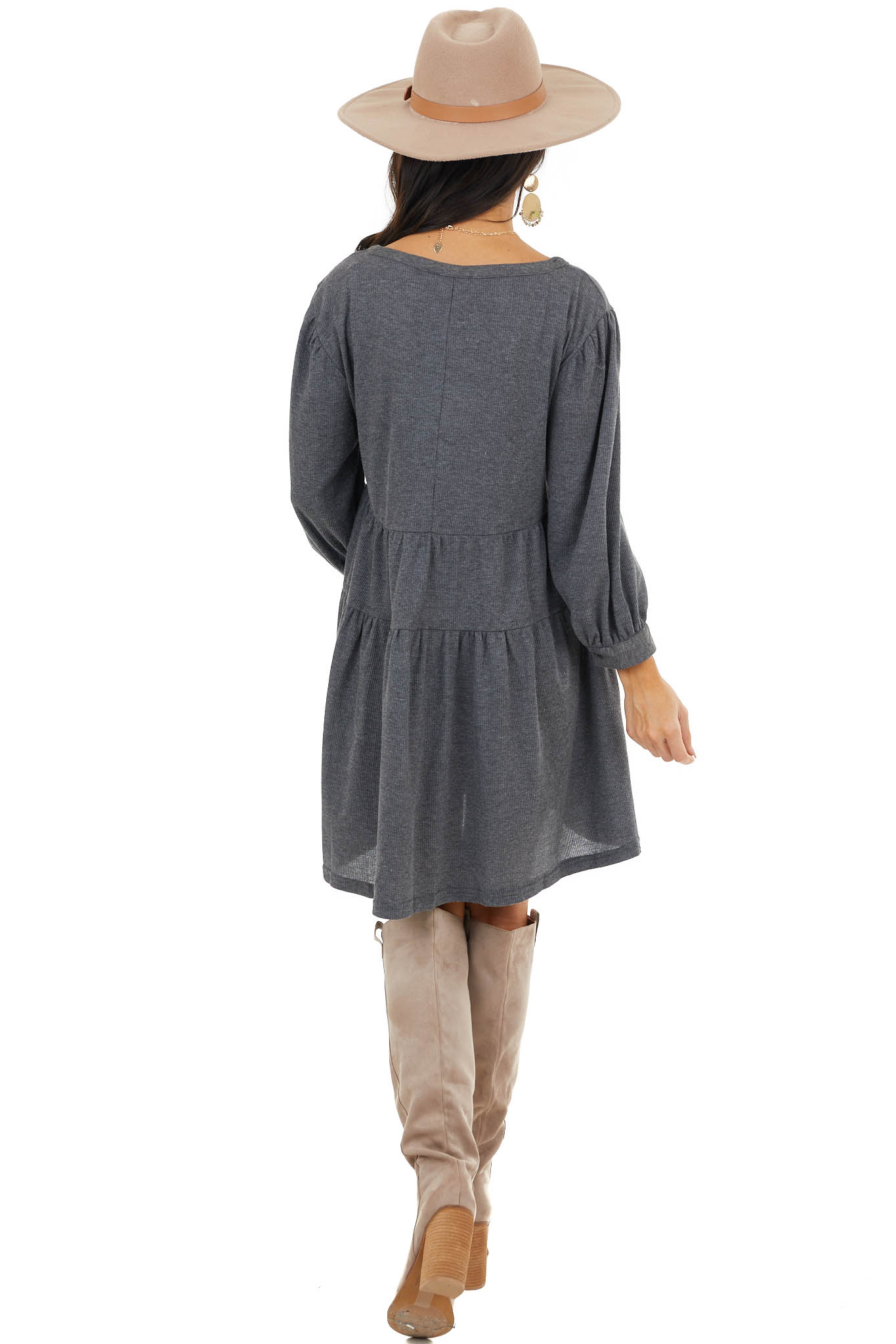 Stormy Grey Henley Baby Doll Tiered Dress with Puff Sleeves