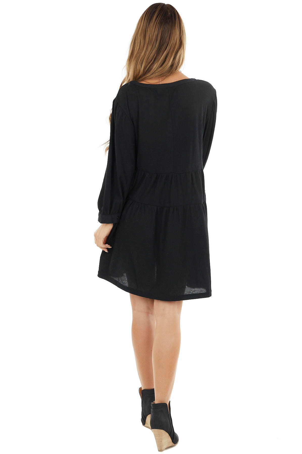 Black Henley Baby Doll Tiered Dress with Puff Sleeves