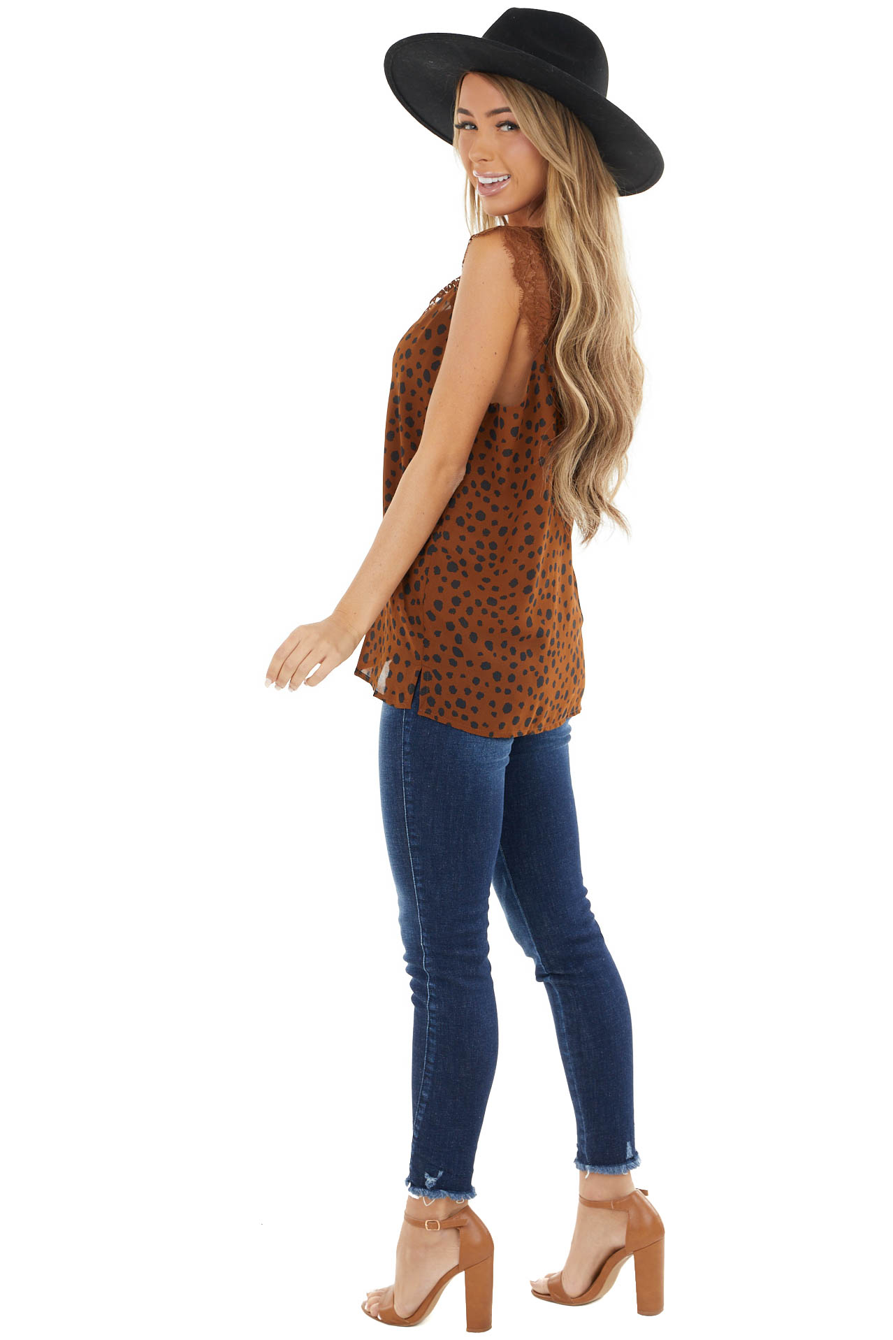 Cognac Cheetah Print V Neck Tank Top with Lace Details