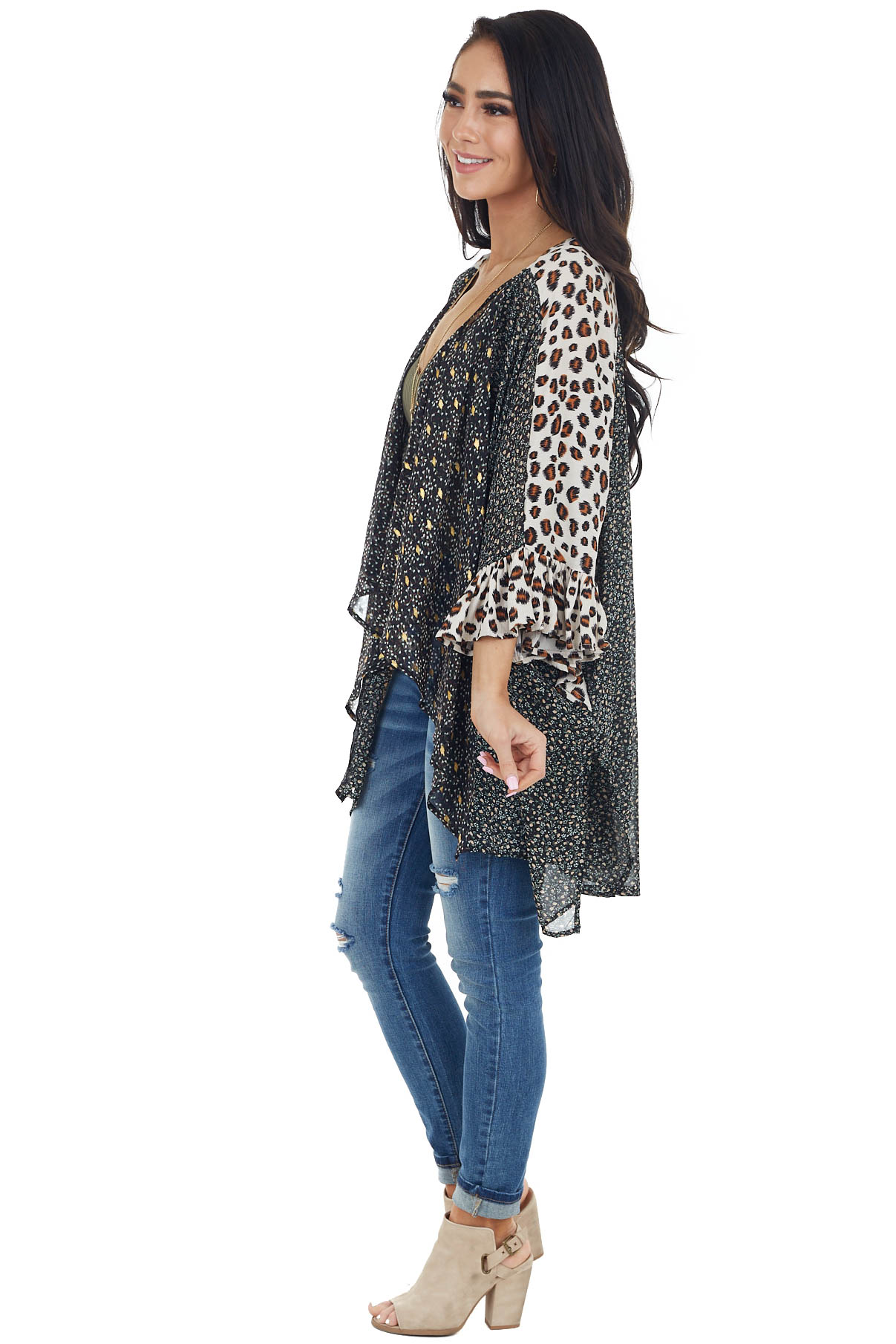 Black Multiprint Kimono Open Front with Bell Sleeves