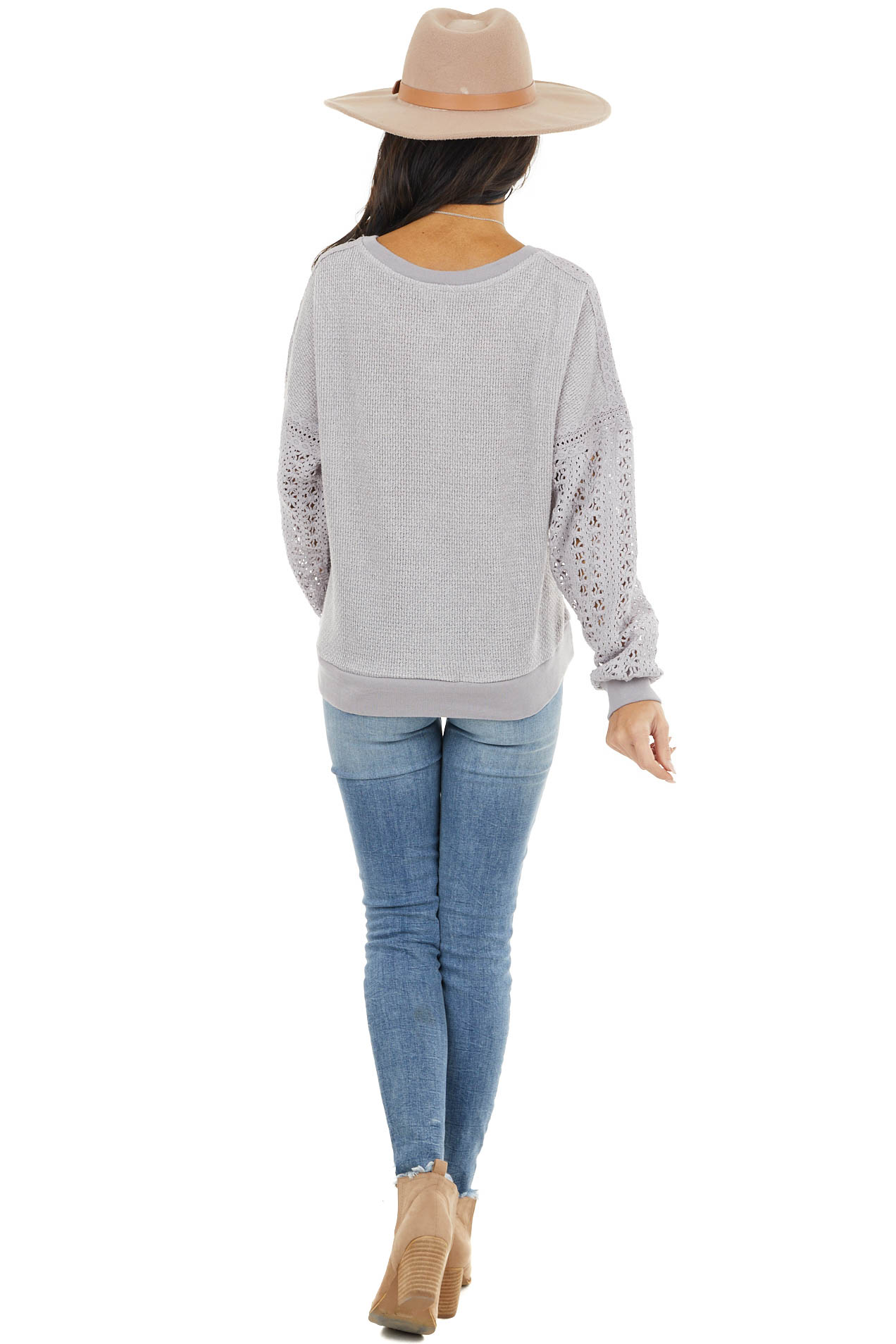 Slate Grey Knit Lightweight Sweater with Crocheted Sleeves