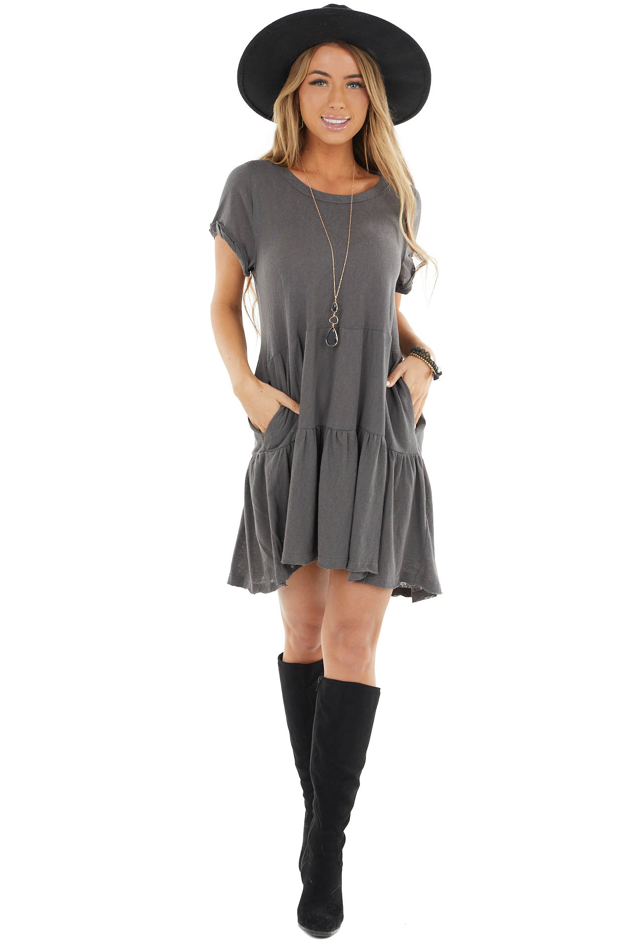 Charcoal Baby Doll Tiered Dress with Raw Edge Details