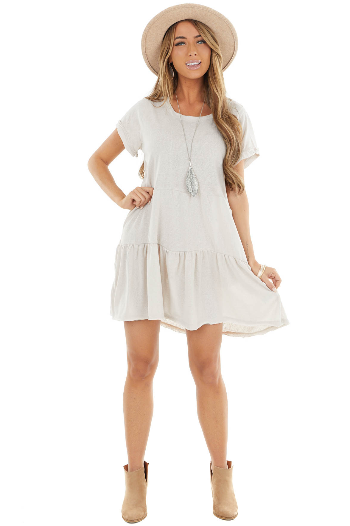 Oatmeal Baby Doll Tiered Dress with Raw Edge Details