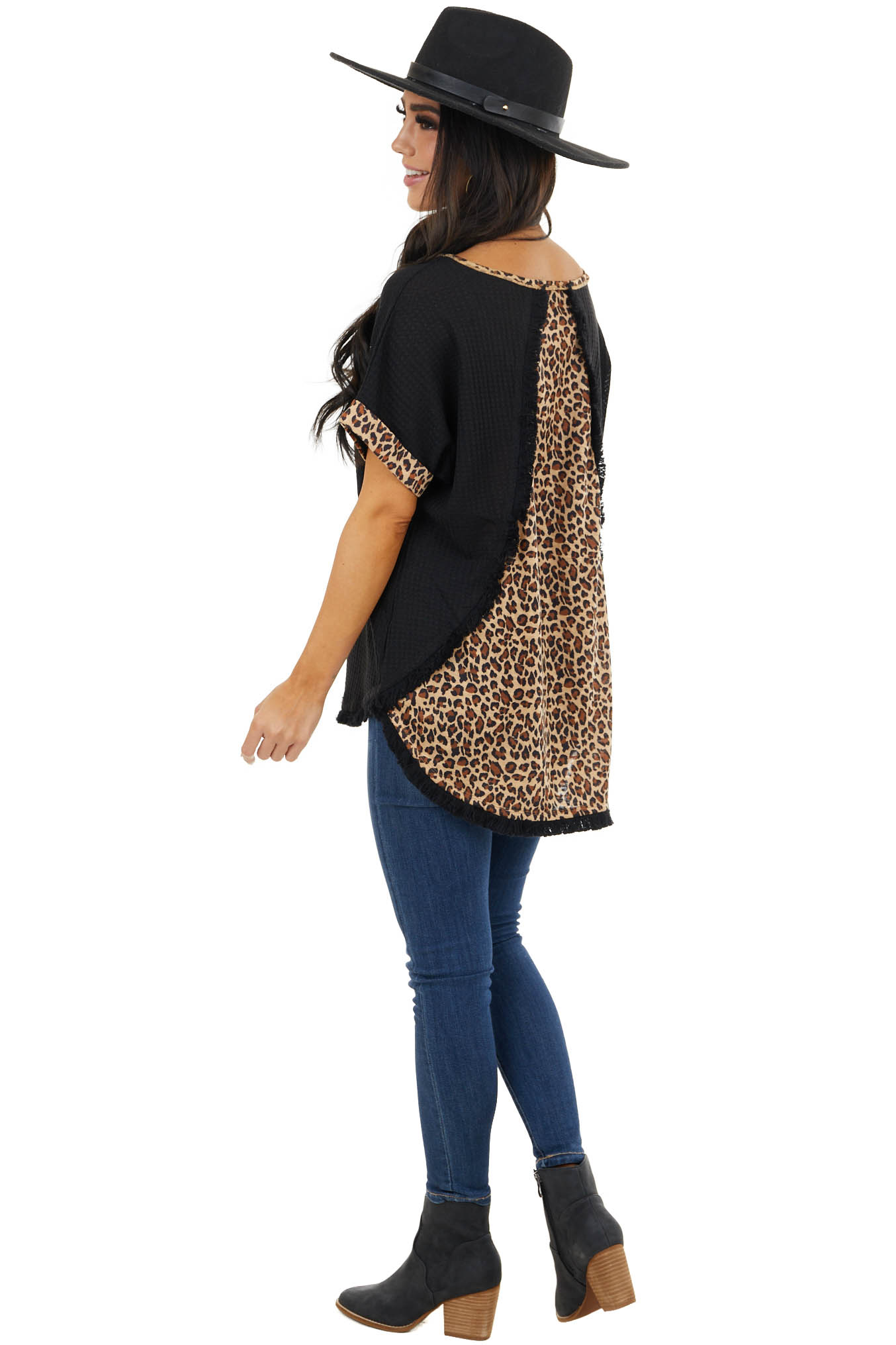 Black Waffle Knit Top with Leopard Print and Fringe Details