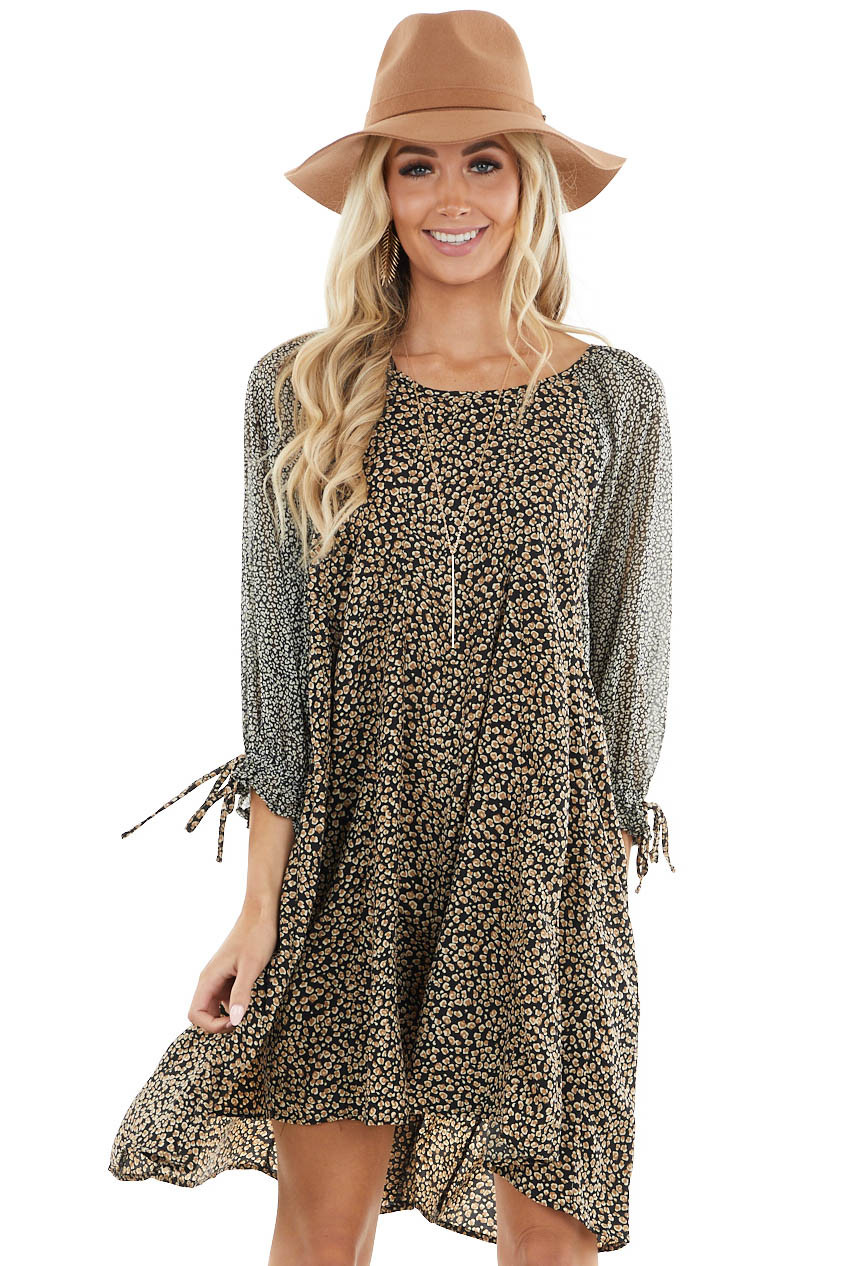 Black and Camel Multi Pattern Print Bubble Sleeve Dress