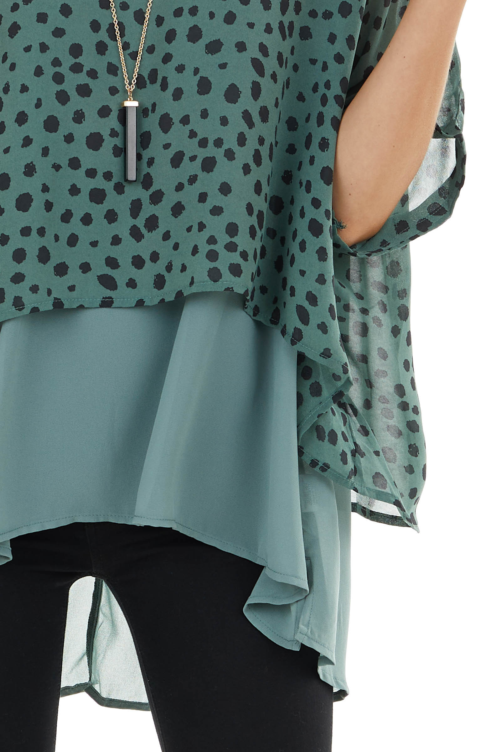 Dusty Sage Cheetah Print Layered Top with Short Sleeves