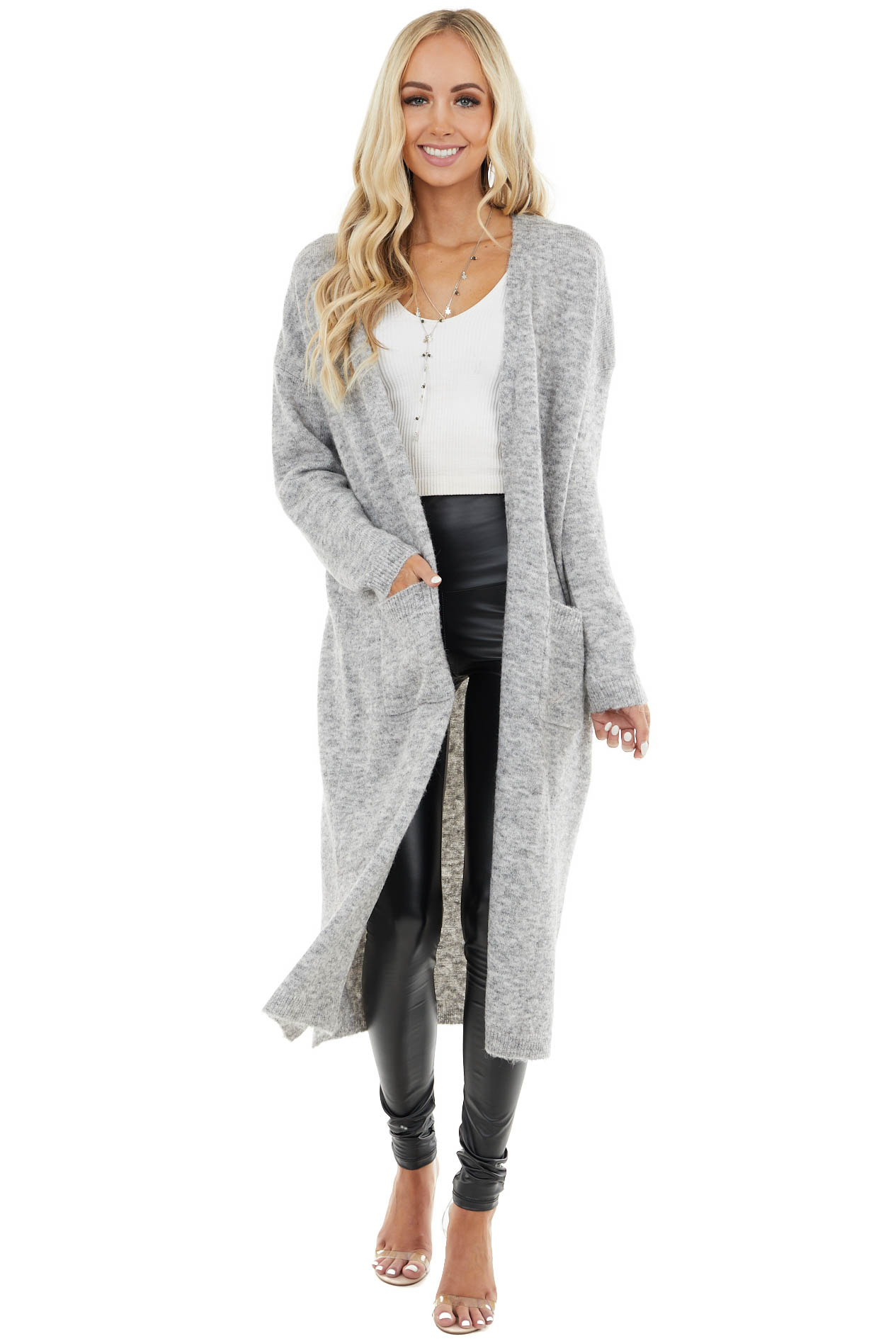 Heather Grey Duster Cardigan with Pockets and Side Slits