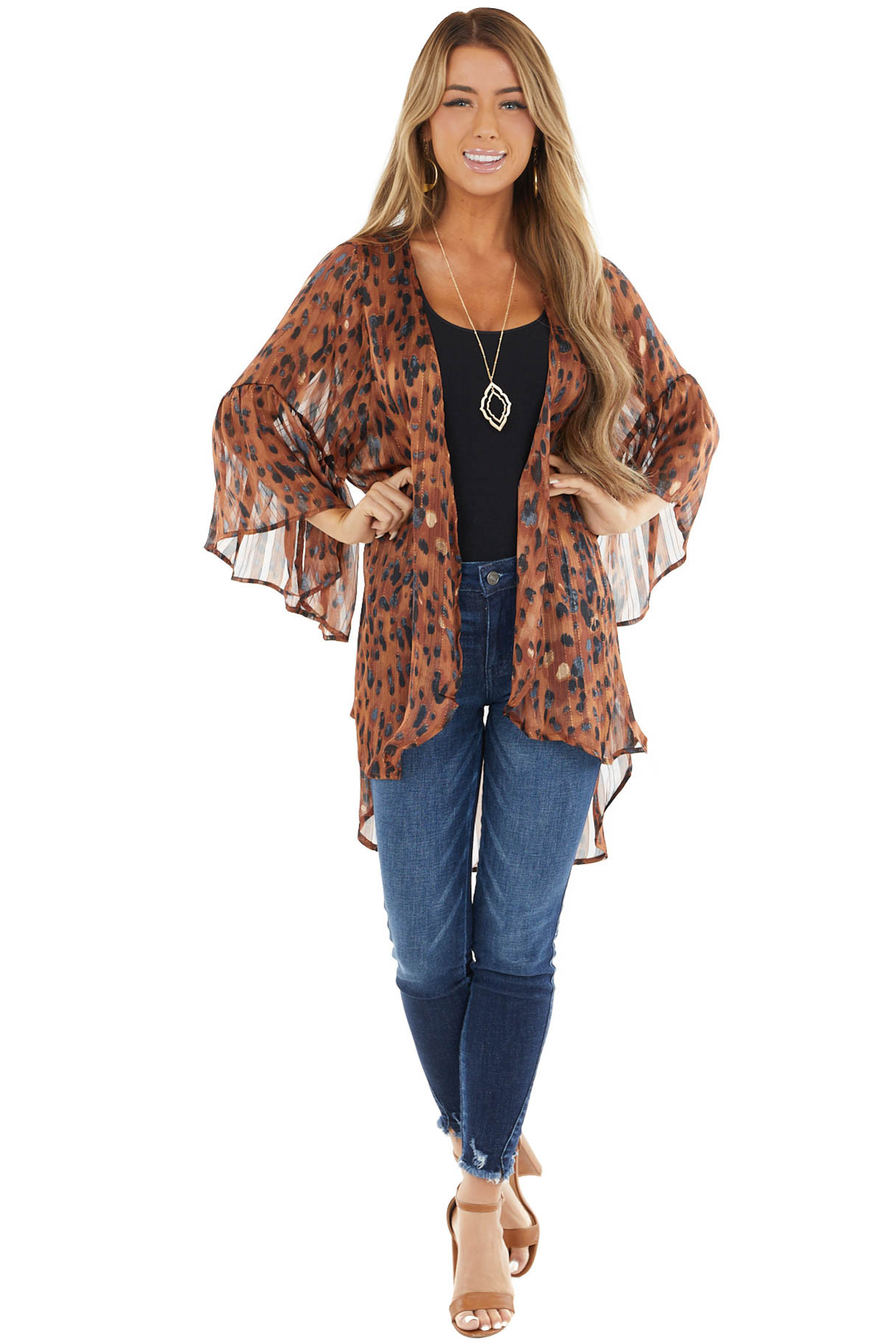 Cognac Leopard Print Kimono Open Front with Bell Sleeves