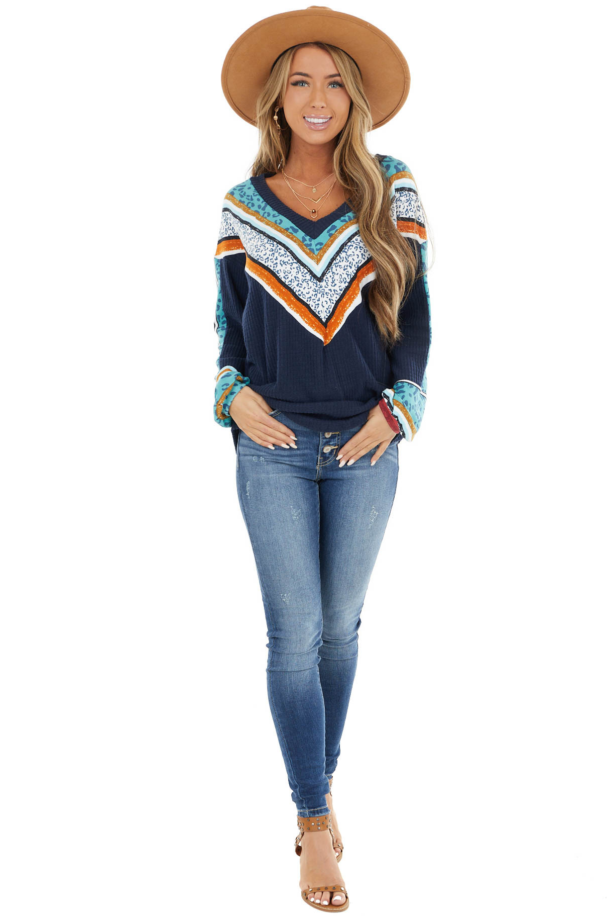 Navy Waffle Knit Top with Multicolor Chevron Detail