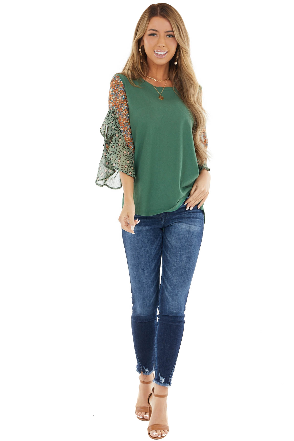 Jade Green Knit Top with Contrast Multi Print Flare Sleeves