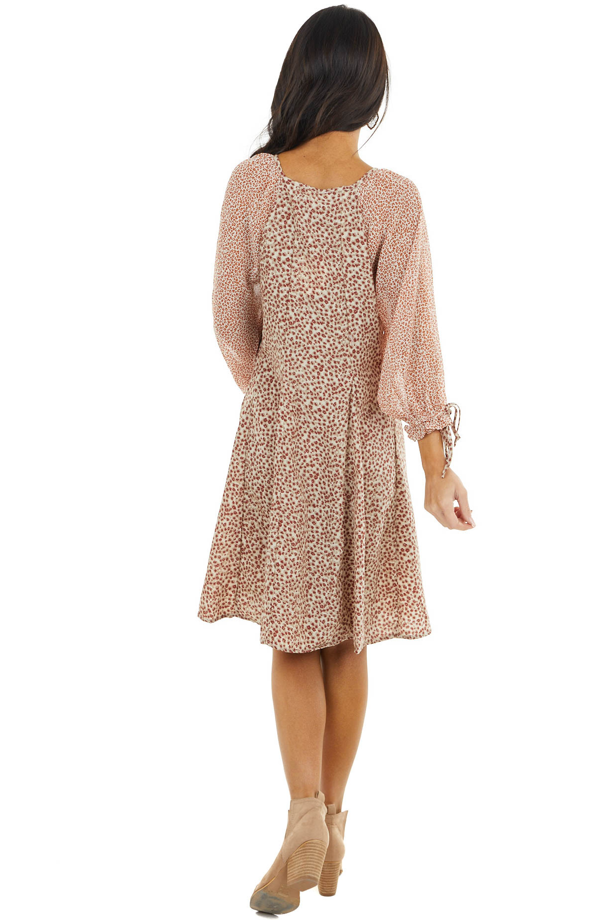 Mahogany and Rust Multi Pattern Print Bubble Sleeve Dress