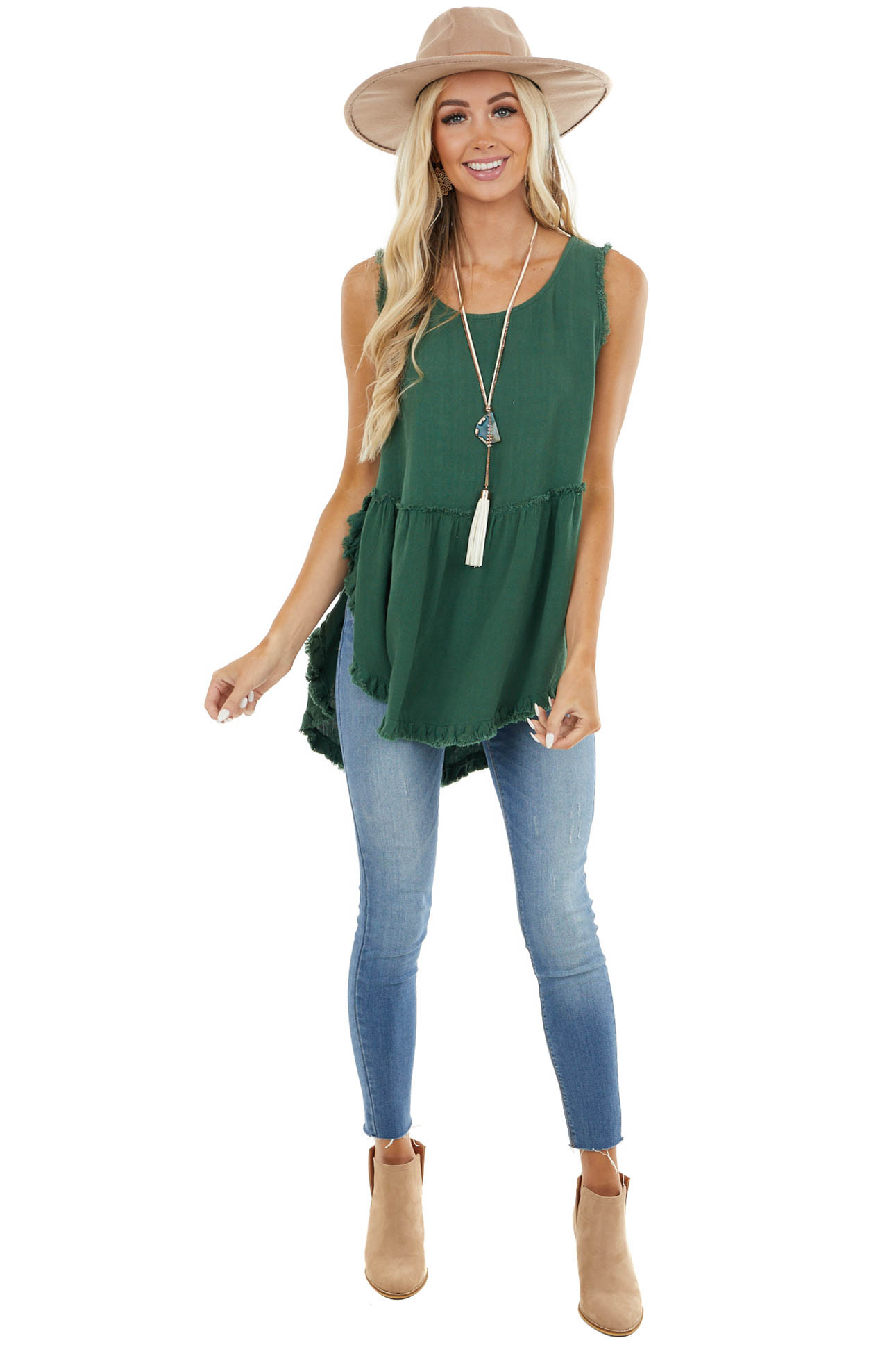 Pine Green High Low Tank Top with Frayed Details